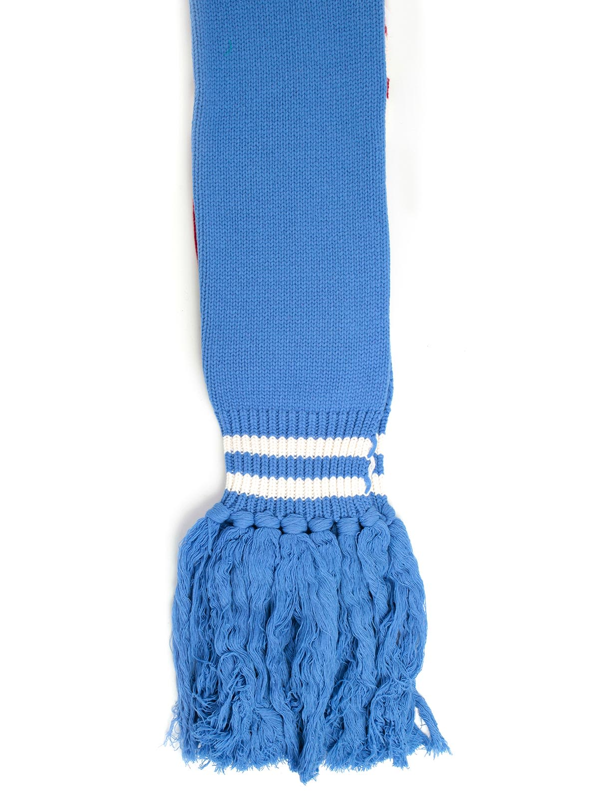 DANILO PAURA Fringed Scarf in Light Blue Red