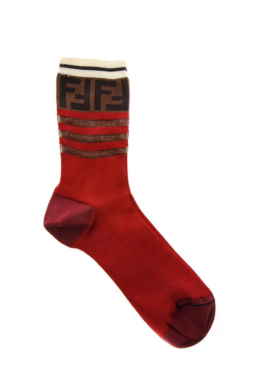 Fendi Socks In Burgundy Cotton With Logo