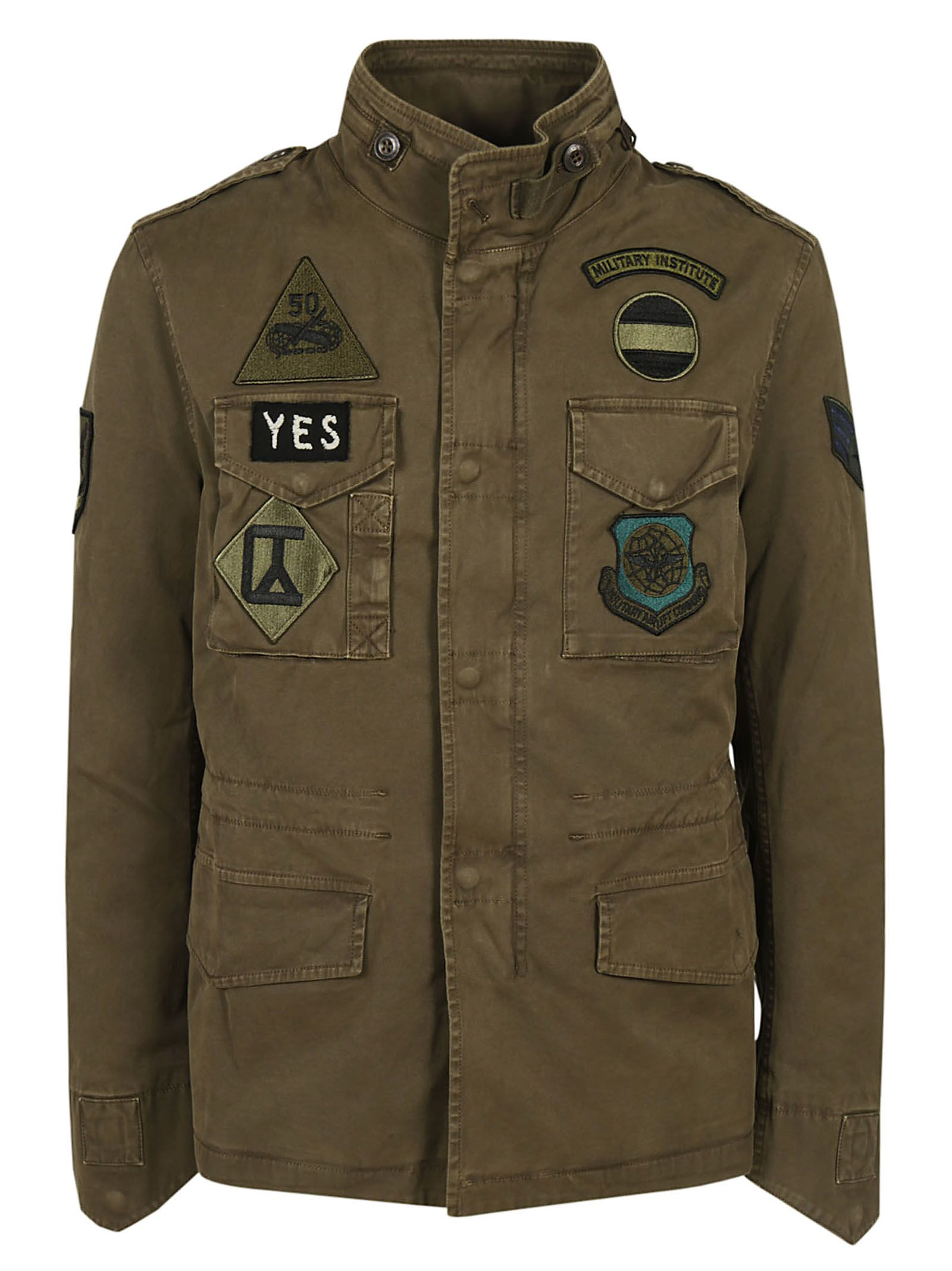 MASON'S Multi Patch Jacket in Verde Militare