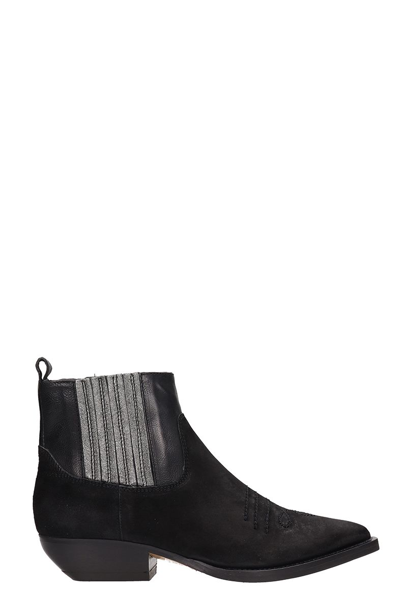 Black Suede Texan Ankle Boots