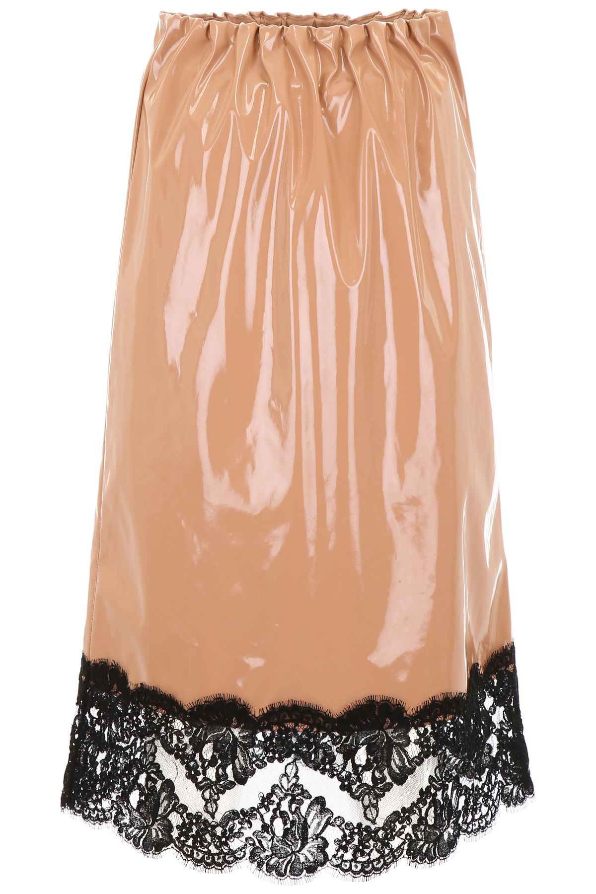 N°21 Patent Faux-Leather A-Line Skirt W/ Lace Trim in Neutrals