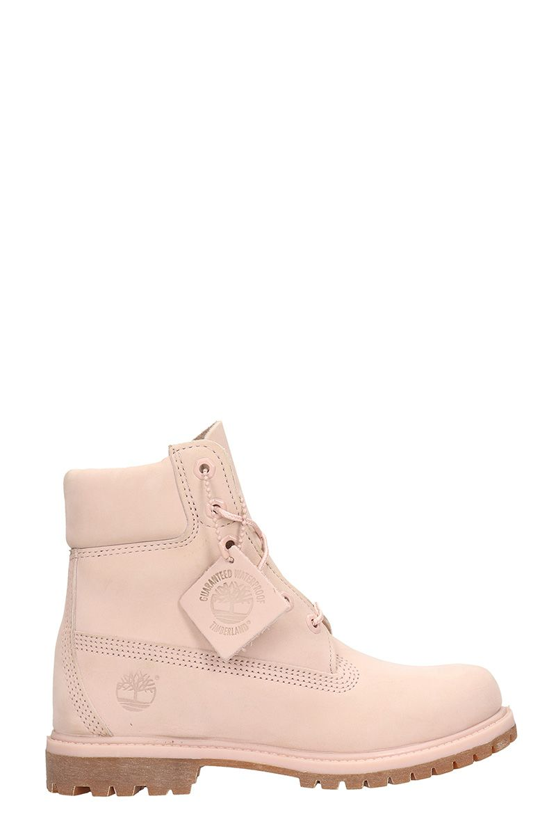 Classic Premium Mono In Pink Nubuck Leather Boots in Rose-Pink