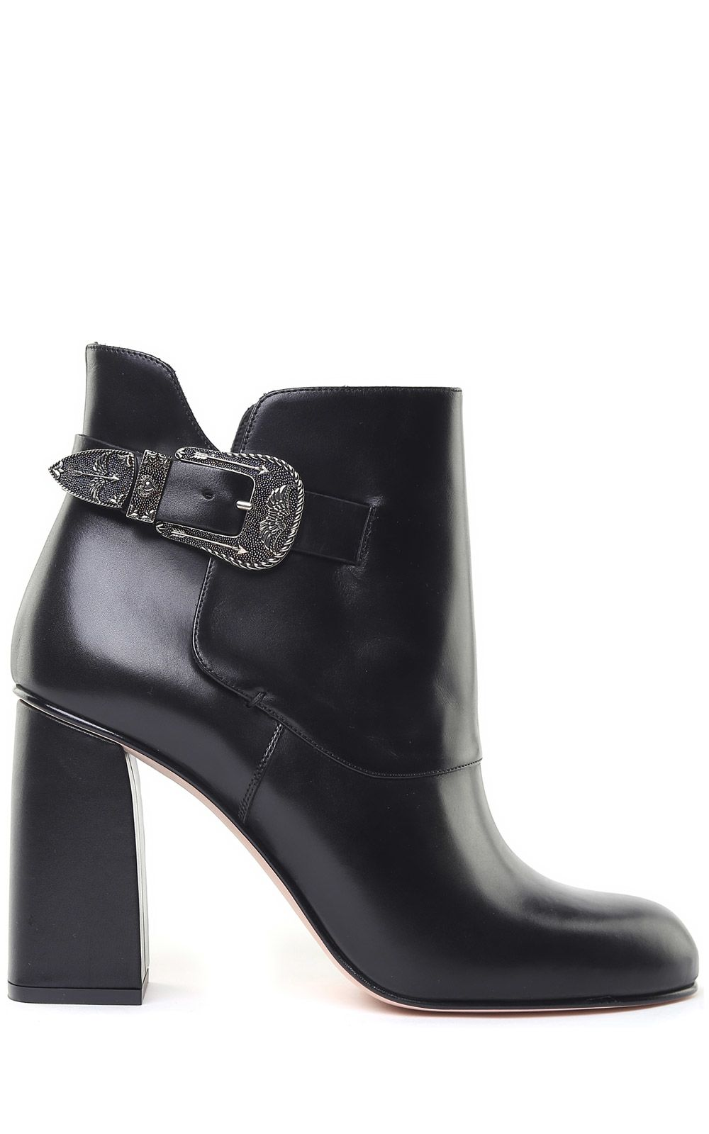 RED VALENTINO COWBOY-BUCKLE SMOOTH-LEATHER ANKLE BOOTS