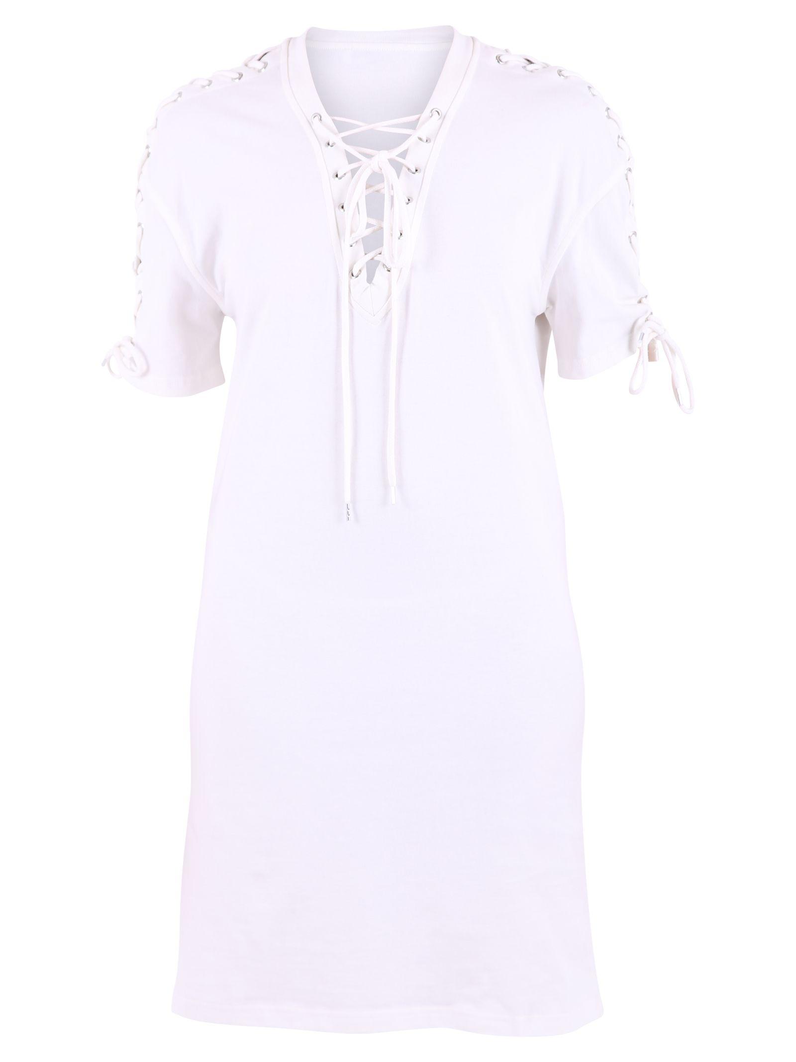 White Lace-up Detail Dress 10575185
