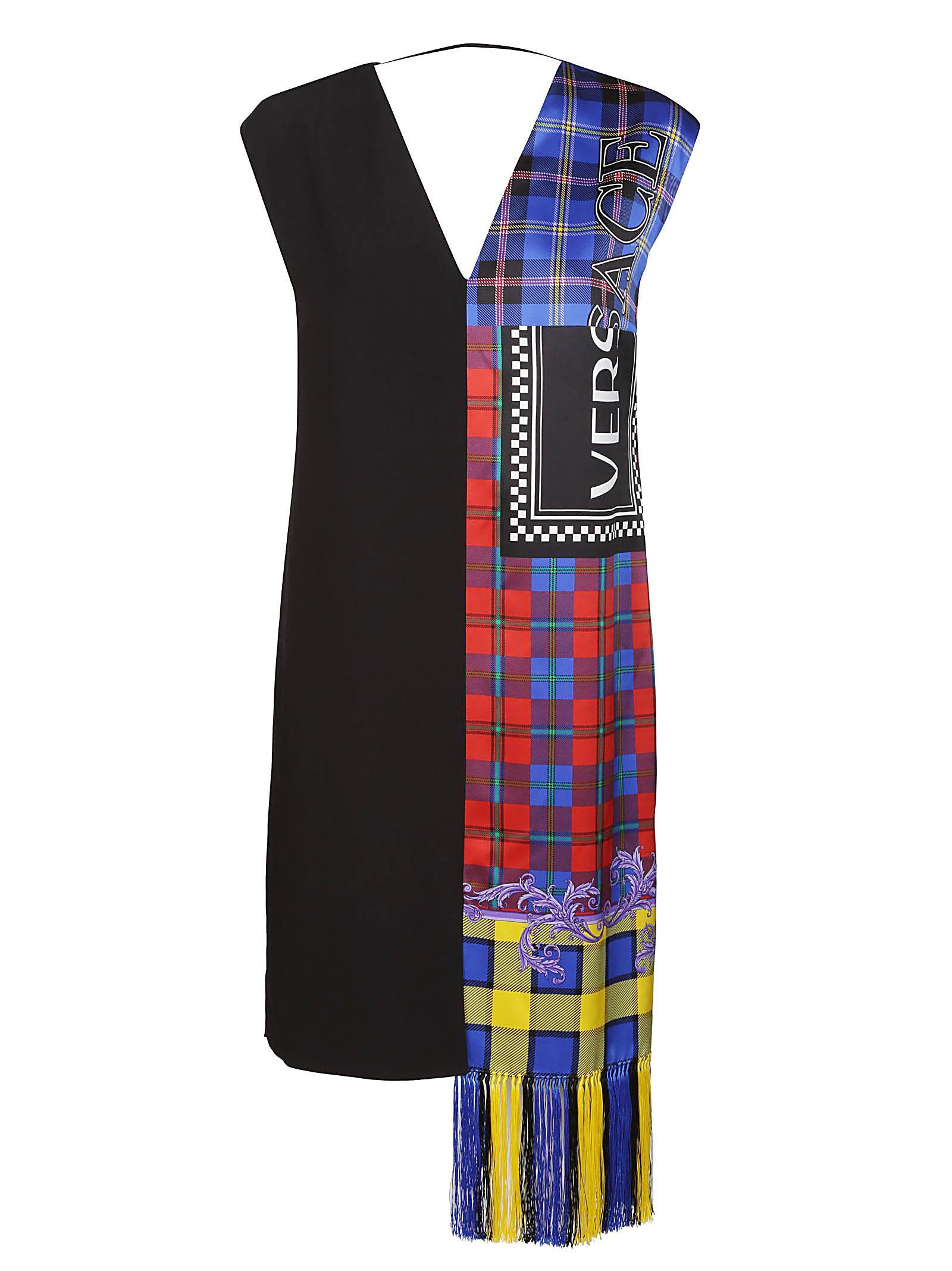 LOGO KNIT FRINGE TARTAN SHIFT DRESS