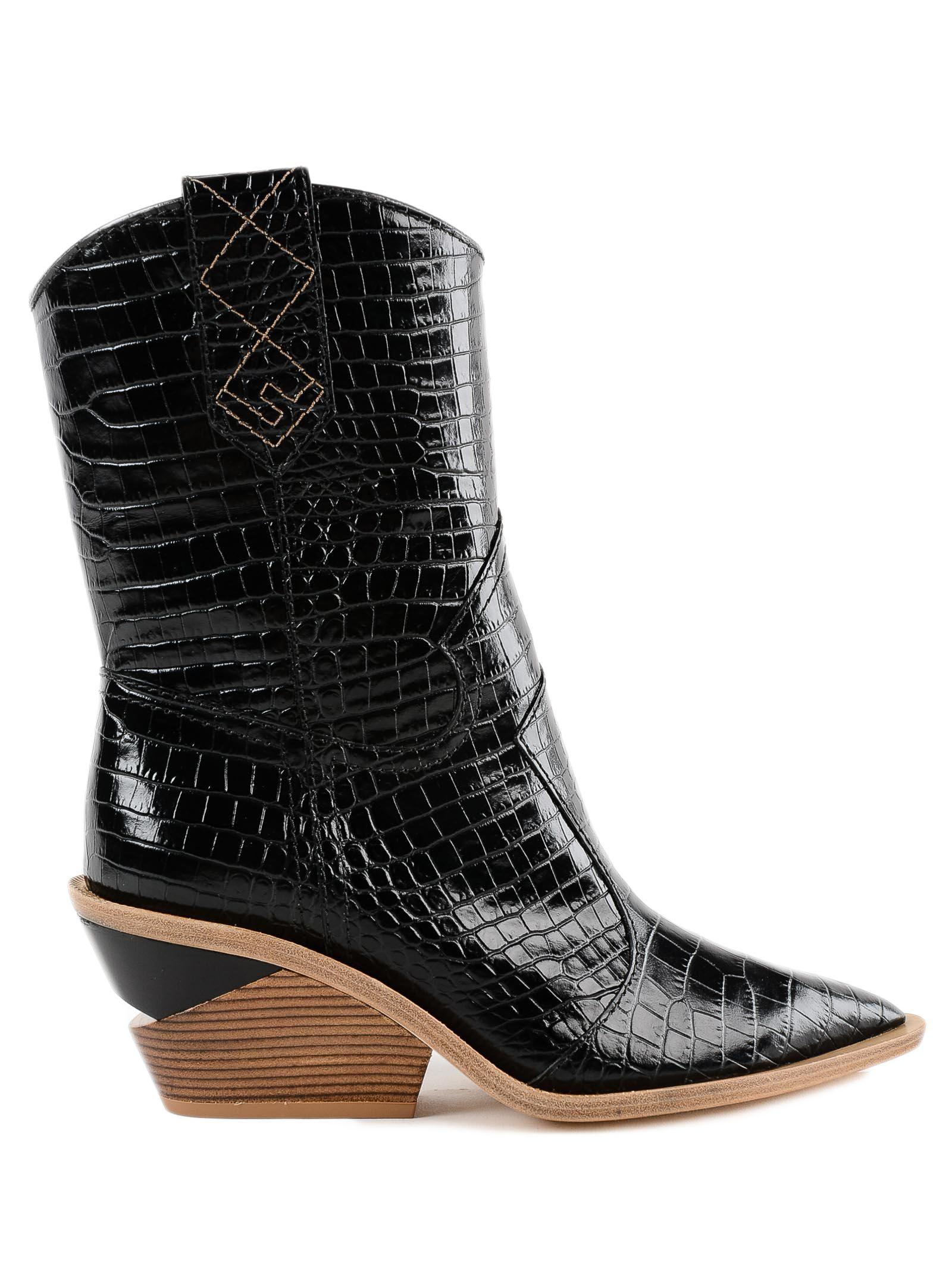 60Mm Embossed Croc Cowboy Boots, Qablack