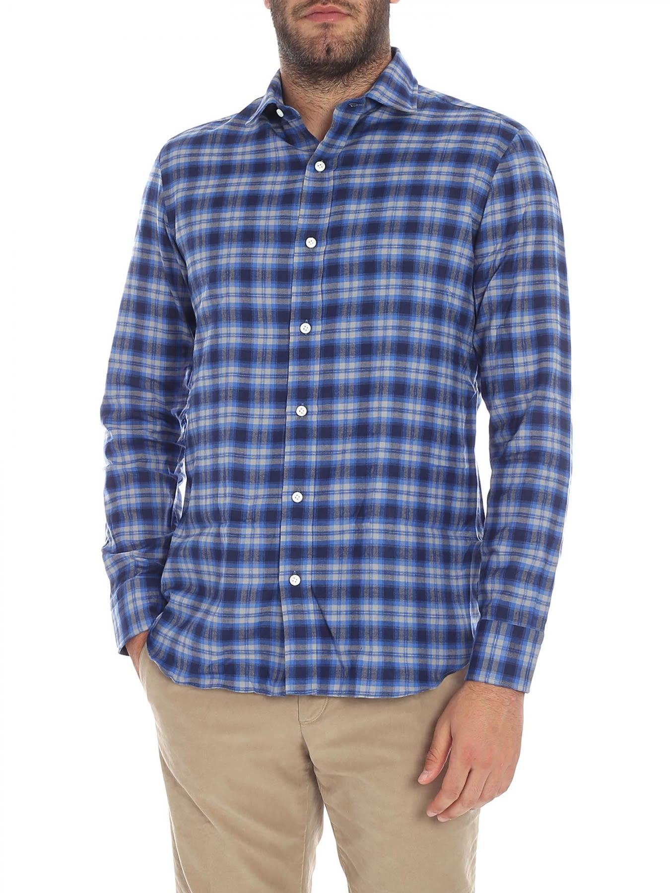 SALVATORE PICCOLO Shirt Flannel in Light Blue