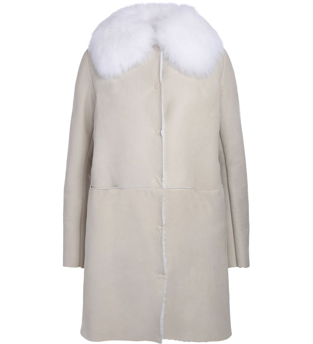 Ivory Sheepskin And Fox Fur Long Coat, Bianco