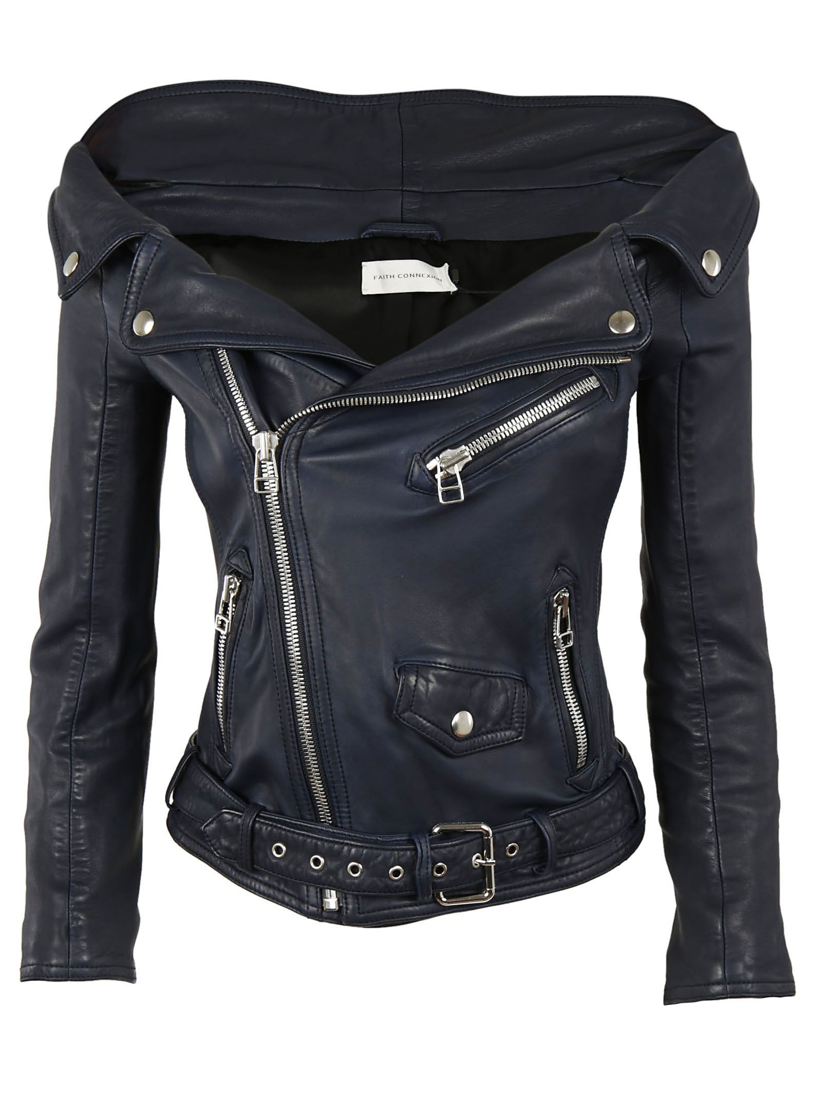 faith connexion -   Off Shoulder Biker Jacket