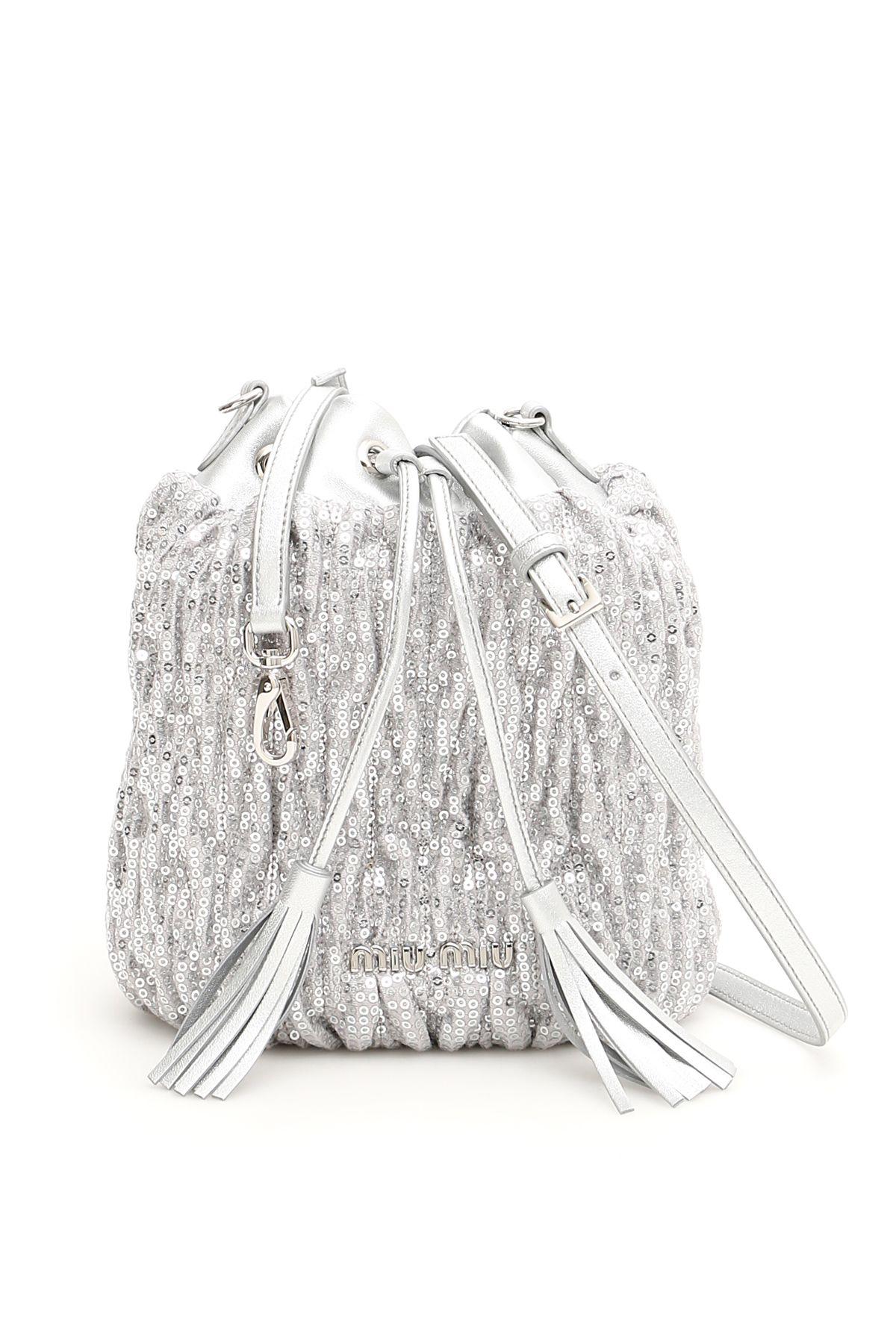 Miu Miu Sequins MatelassÉ Bucket Bag In Argento   ModeSens add11d0473