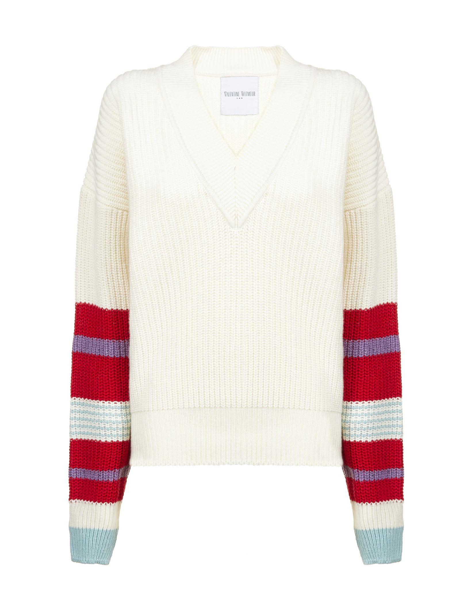 VALENTINE WITMEUR LAB Valentine Witmeur Rainbow Sweater in Panna Multicolor