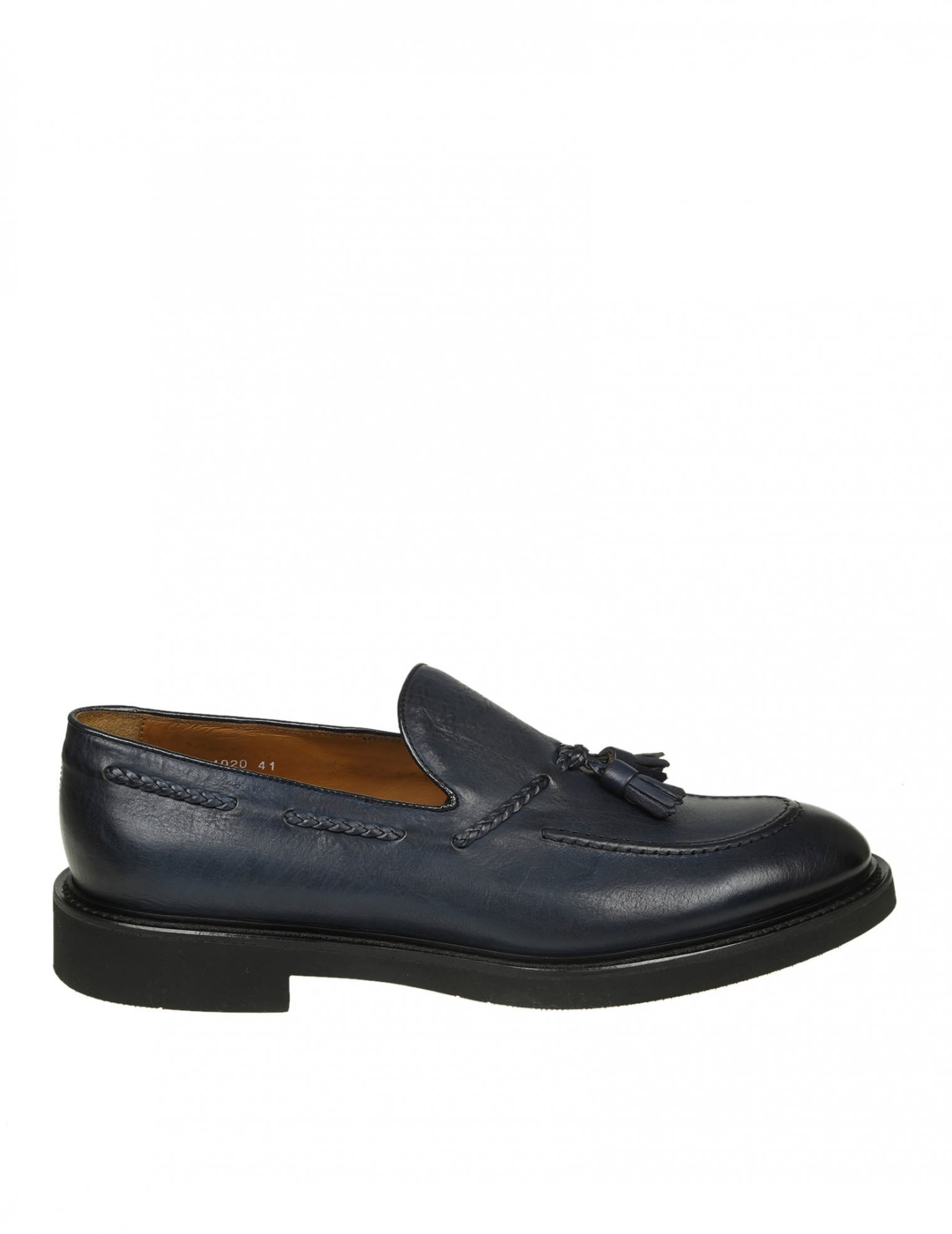 DOUCALS LOAFERS IN BLUE LEATHER WITH NAPPA DETAIL
