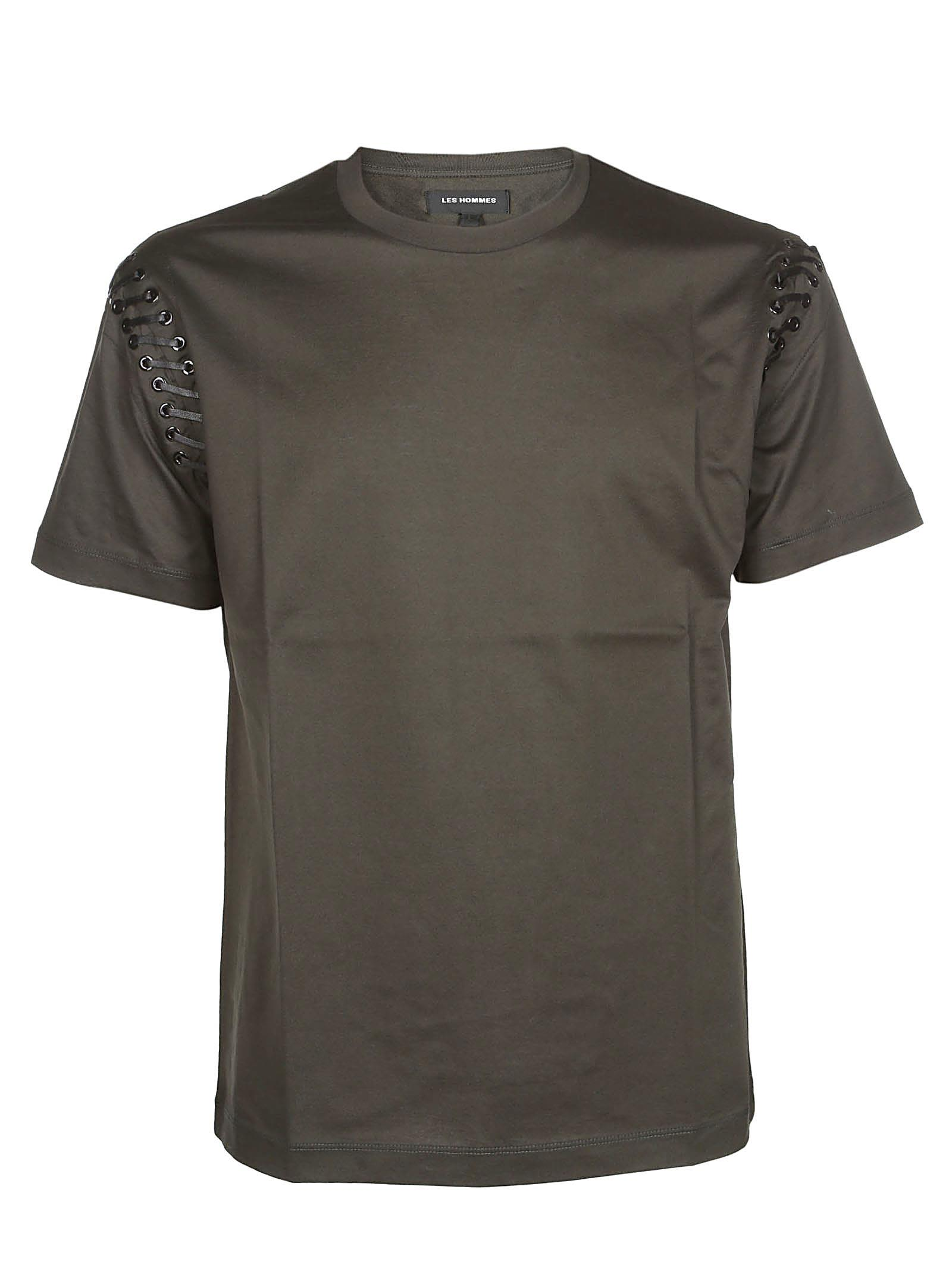 LES HOMMES LACE-UP SLEEVE T-SHIRT