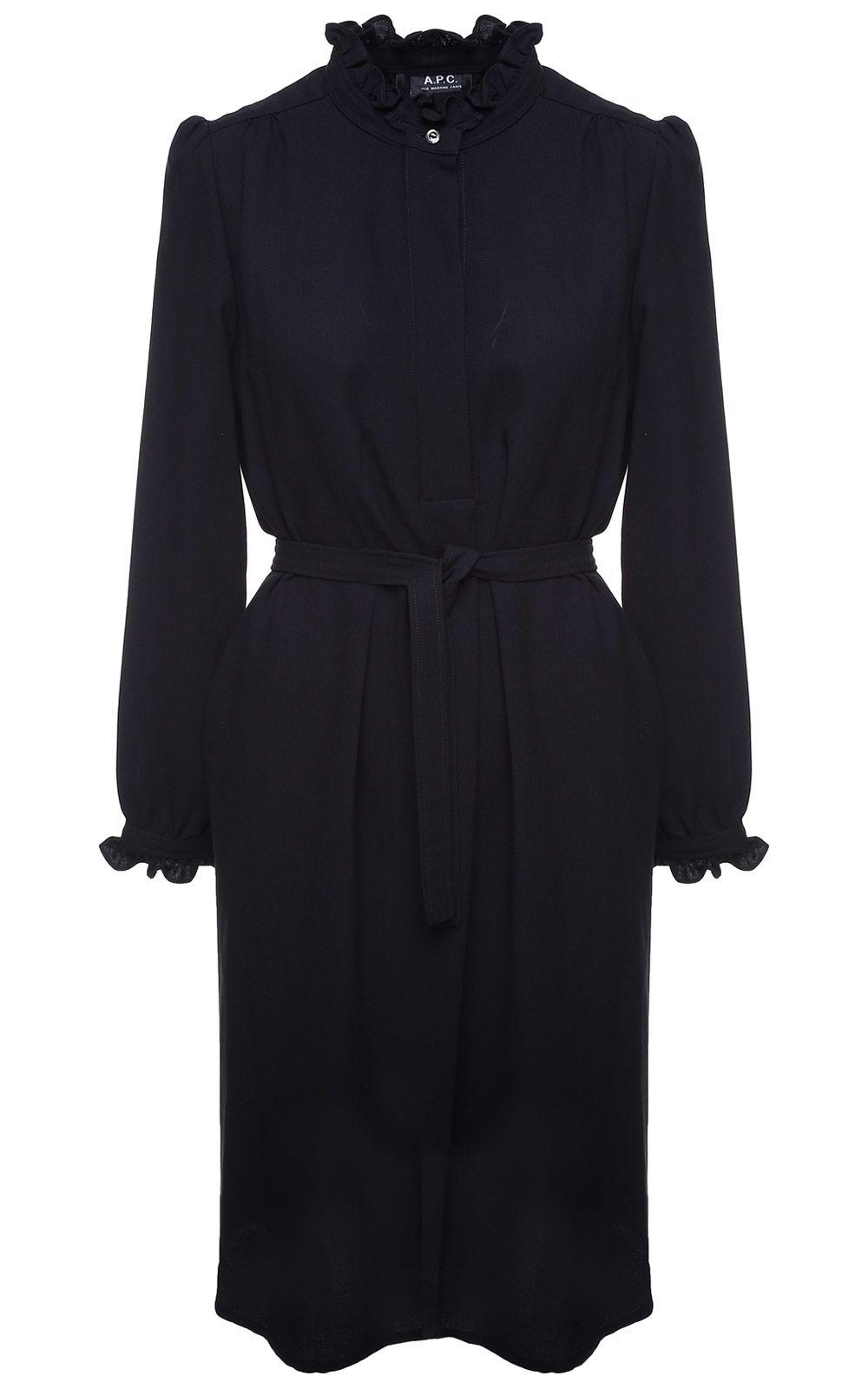 Astor Viscose And Wool-Blend Crepe Midi Dress, Nero