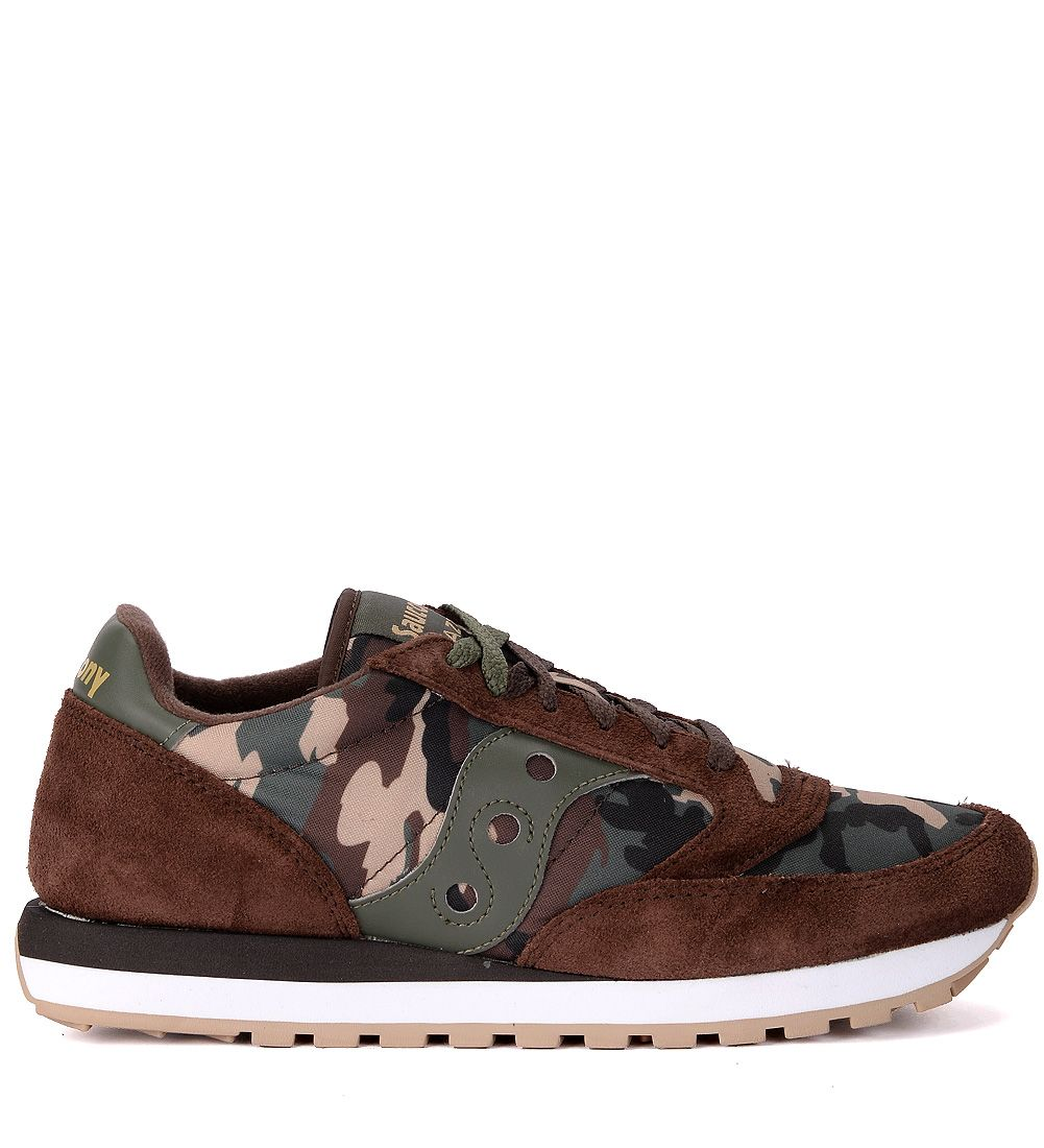 JAZZ BROWN SUEDE AND CAMOUFLAGE FABRIC SNEAKER