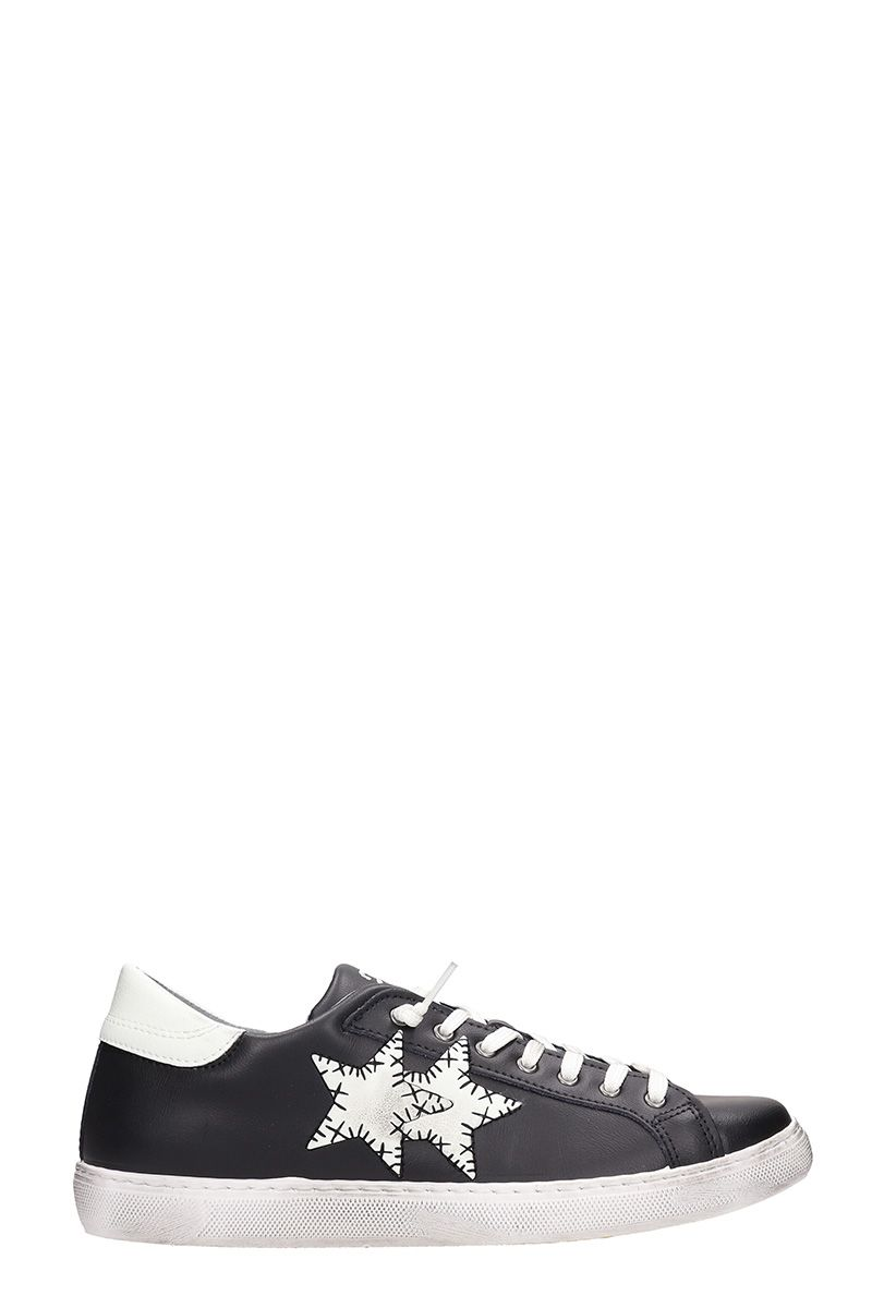2STAR Low Star Black Leather Sneakers