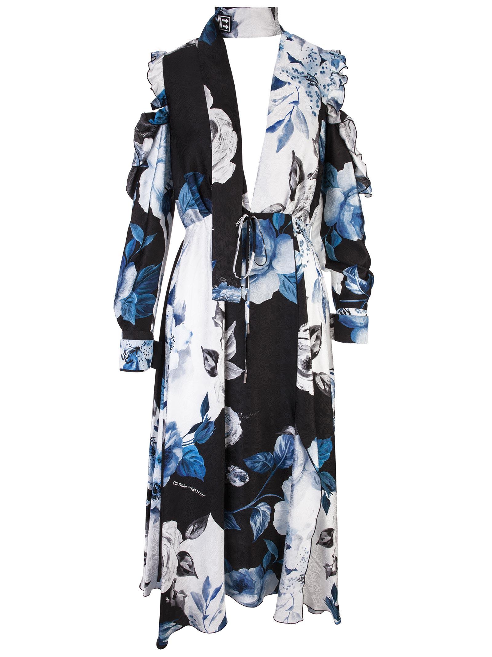 Cold-Shoulder Floral-Print Silk-Moire Midi Dress in Blue
