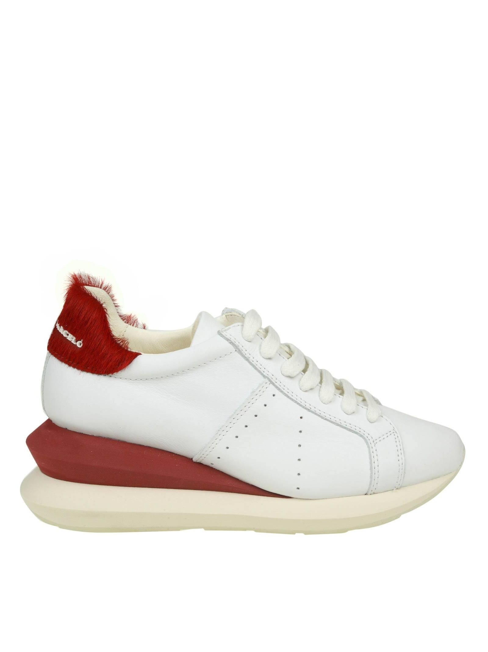 Manuel Barcelo' Sneakers Shoe In White Leather in White/Red