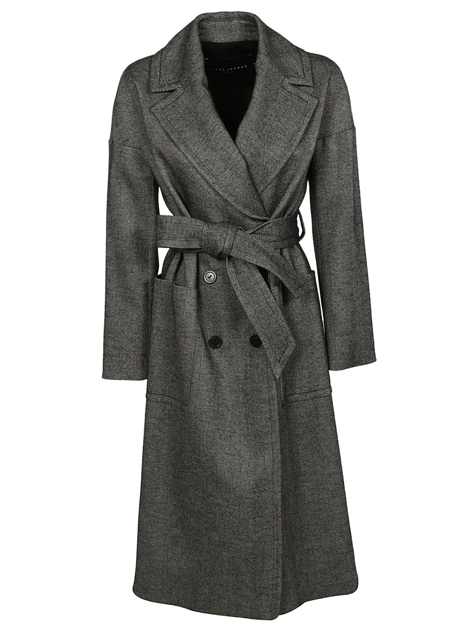 TARA JARMON Herringbone Trench Coat in Noir