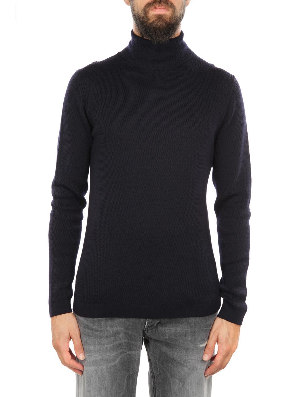 DANIELE FIESOLI Merinos Wool Turtle-Neck Sweater in Blue