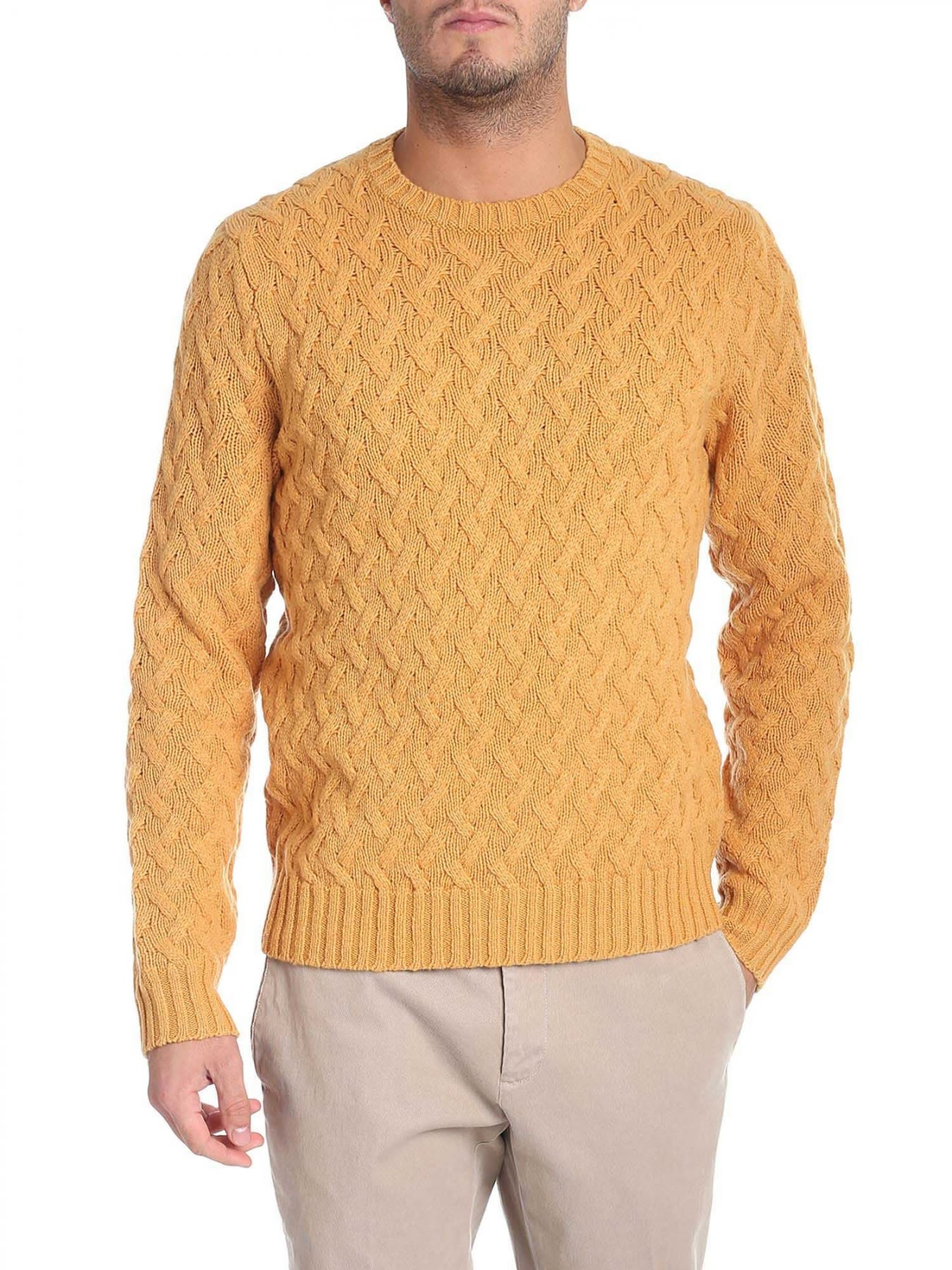 BROOKS BROTHERS Round Neck Lamb'S Wool in Yellow