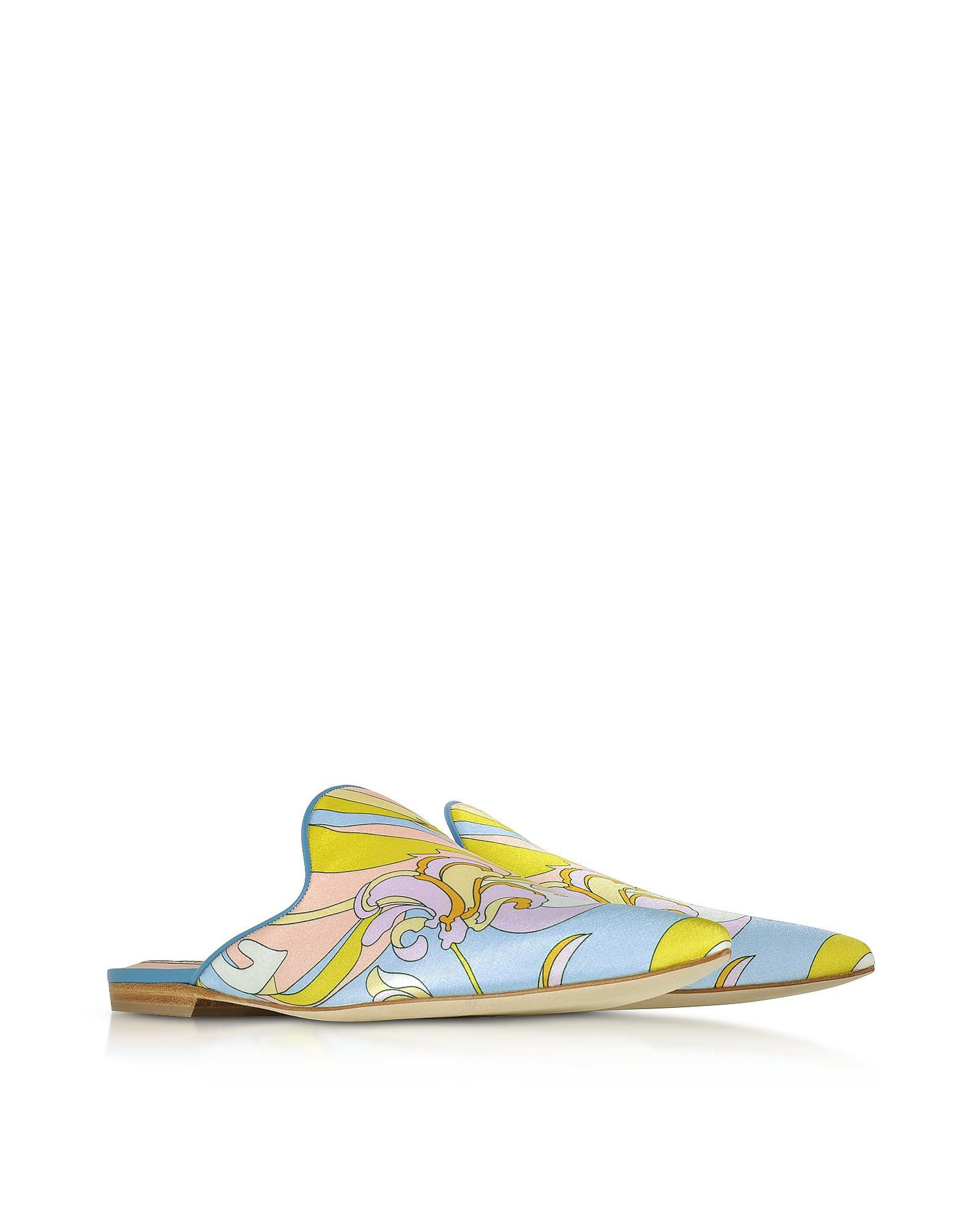 Emilio Pucci Designer Shoes, Lemon Satin Printed Flat Mules