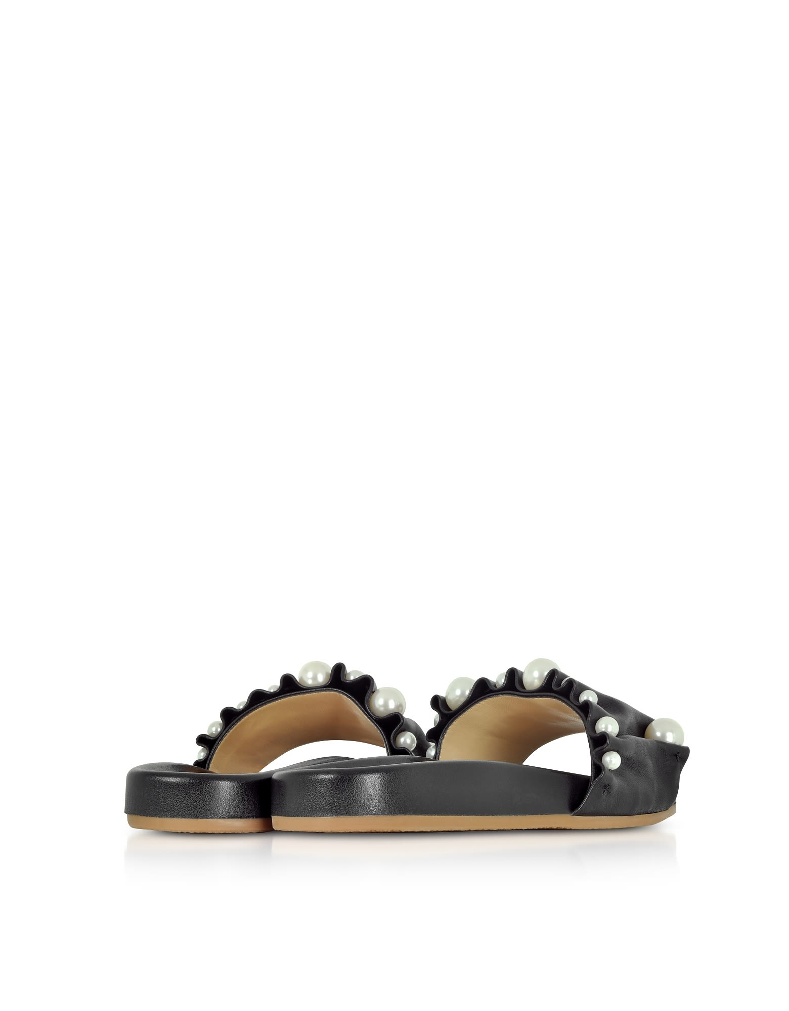 Charlotte Olympia Designer Shoes, Pleated Nappa Leather Slide Sandals w/Pearls