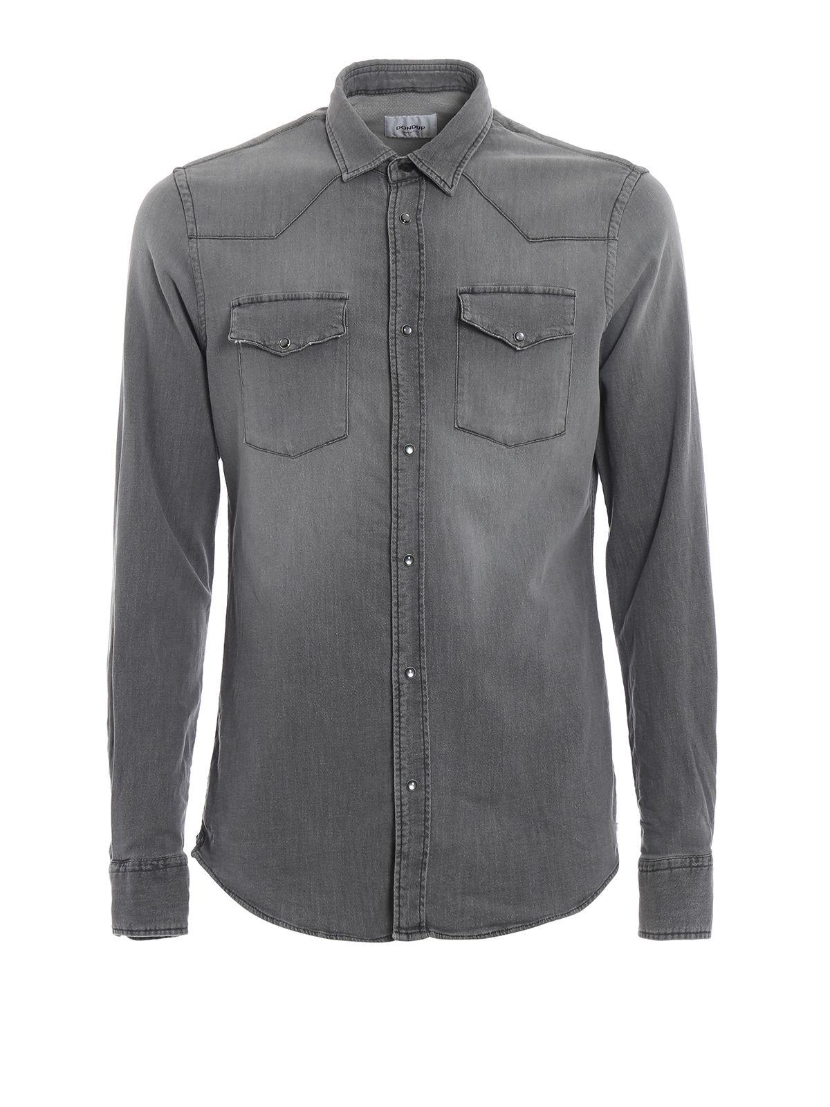 Neely Light Wash Grey Denim Shirt