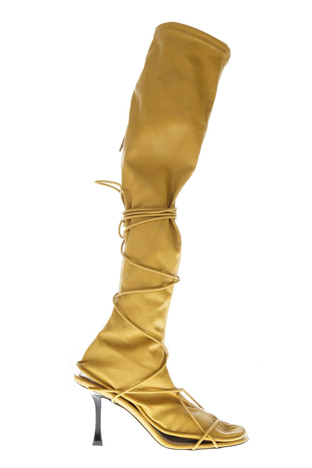 Yellow Sock Lamb Leather & Elastic Fabric Boots, Ocre