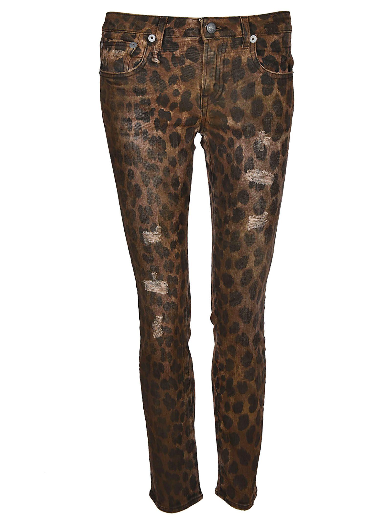 R13 Kate Skinny Leopard Jeans