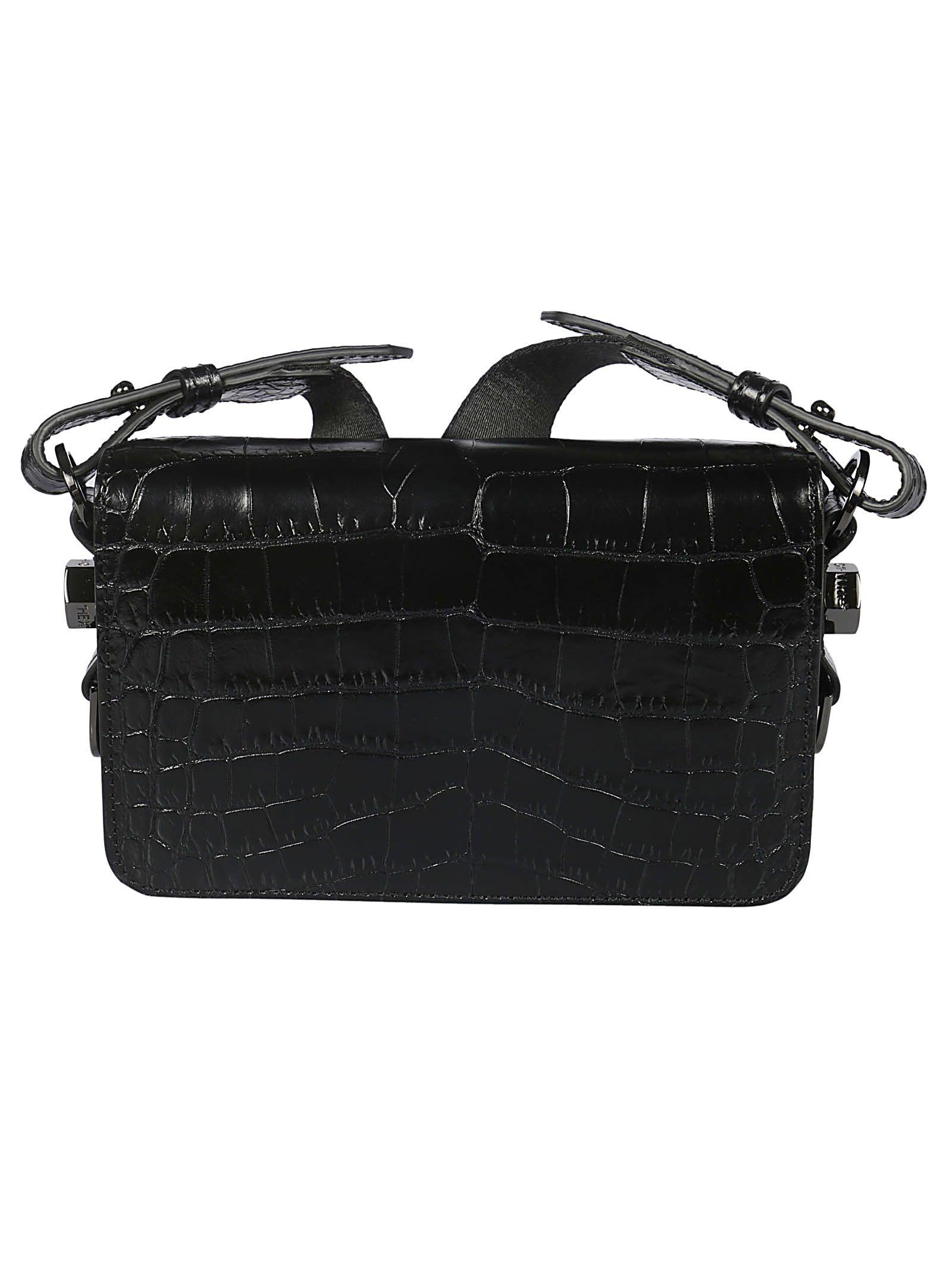 c36d99e922 Off-White Crocodile Embossed Shoulder Bag In Black No Color