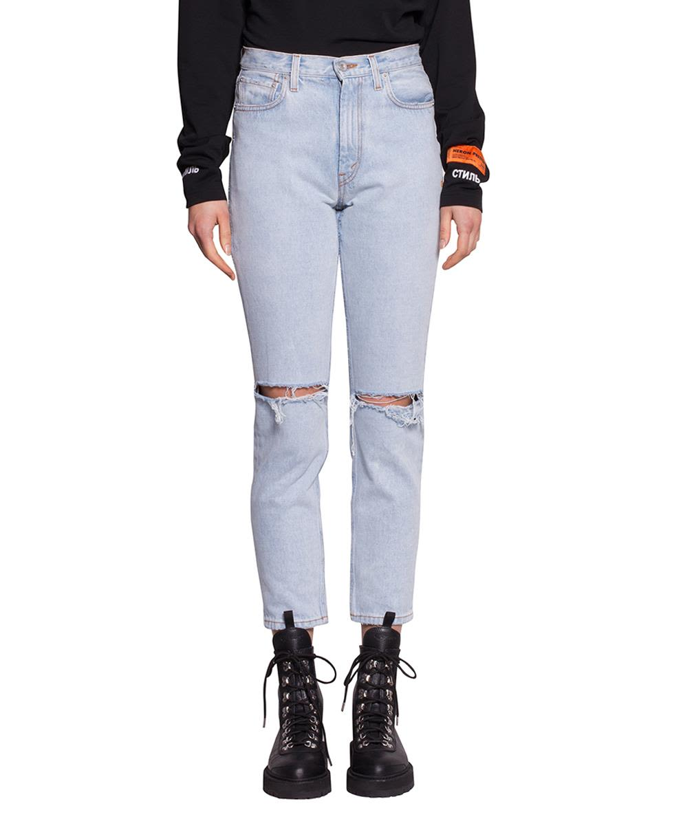 HERON PRESTON Cotton Denim Destroyed Jeans