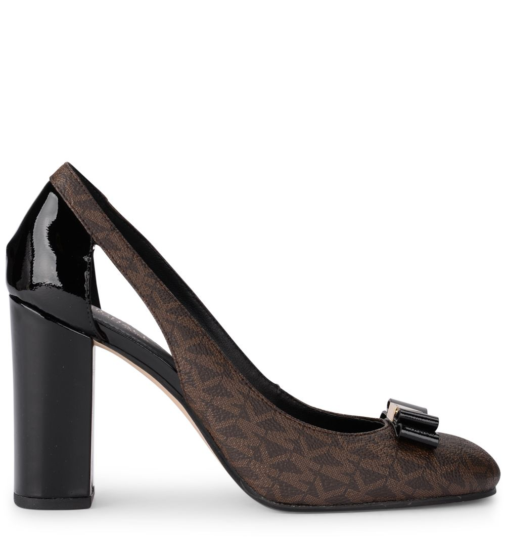 Michael Kors Carson Pump Brown Rubber Fabric And Black Patent Leather Decolletè. Side Opening And B