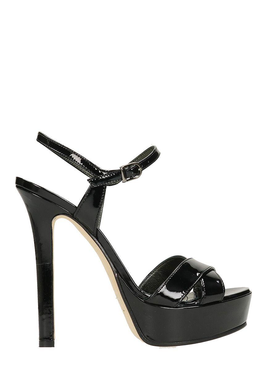 Latest Marc Ellis Black Patent Leather Sandals For Women Sale