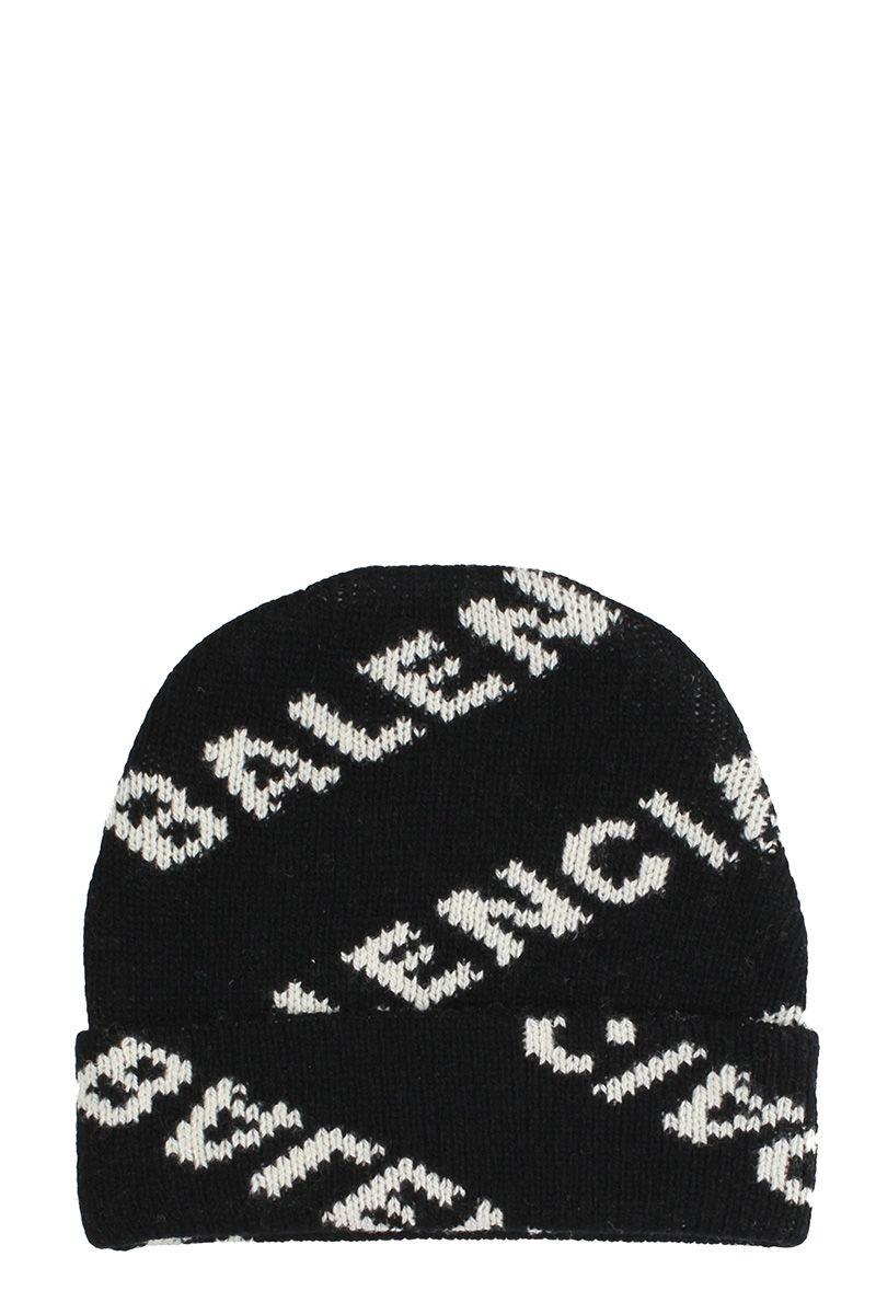 51074e54844 Shop Balenciaga Logo Beanie Hat In Black