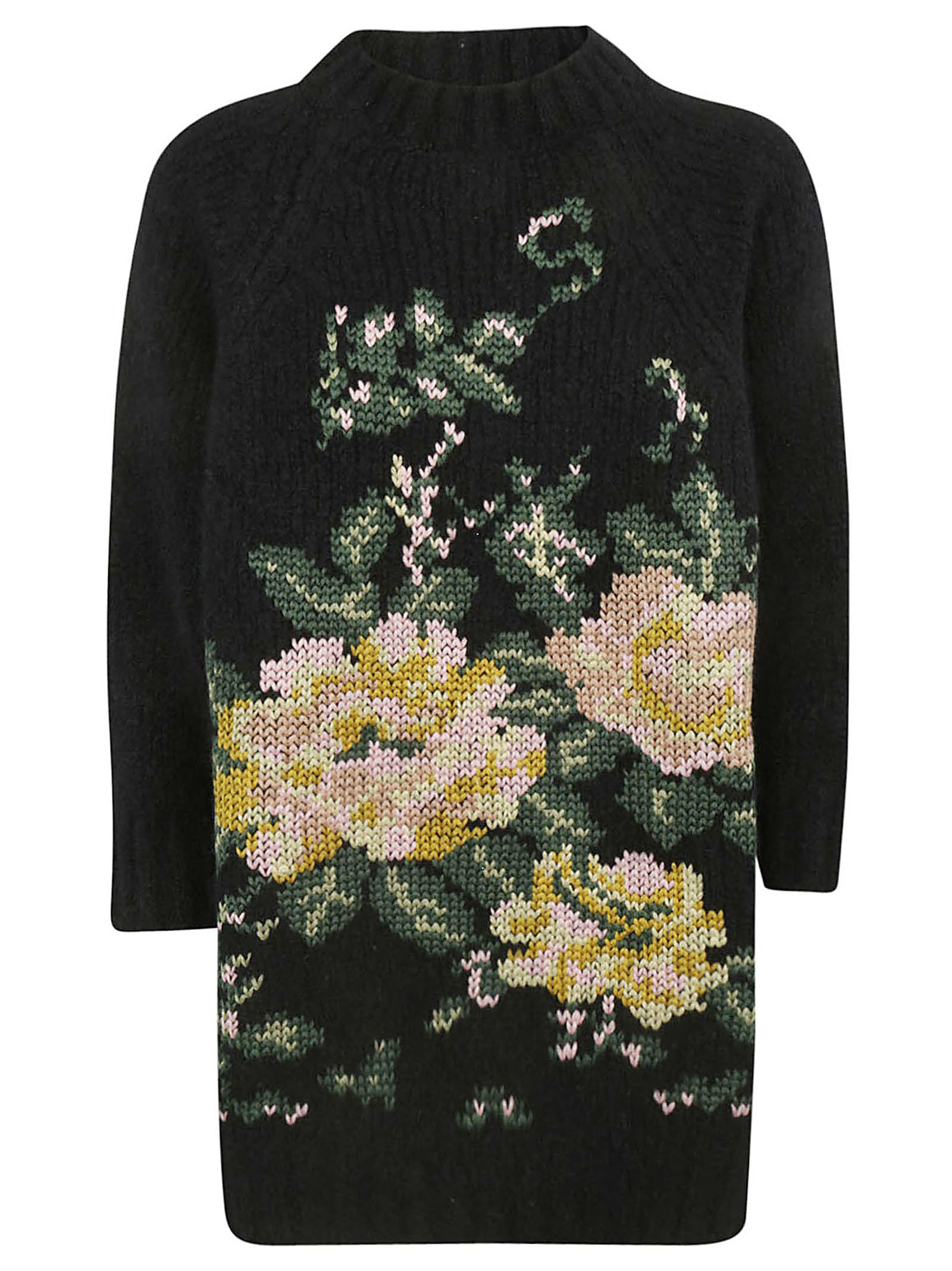 SAVERIO PALATELLA Knitted Intarsia Sweater in Black