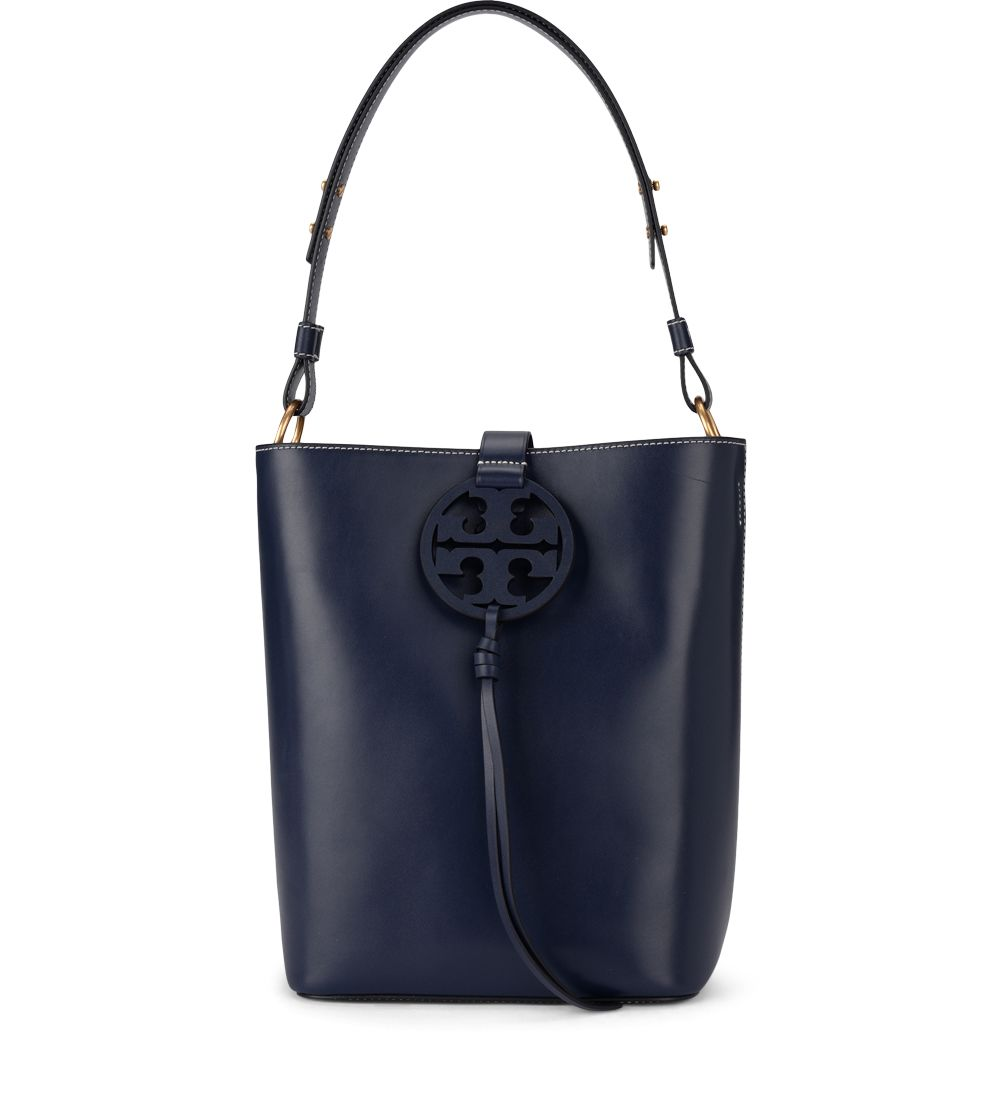 Tory Burch Miller Blue Leather Bucket Bag