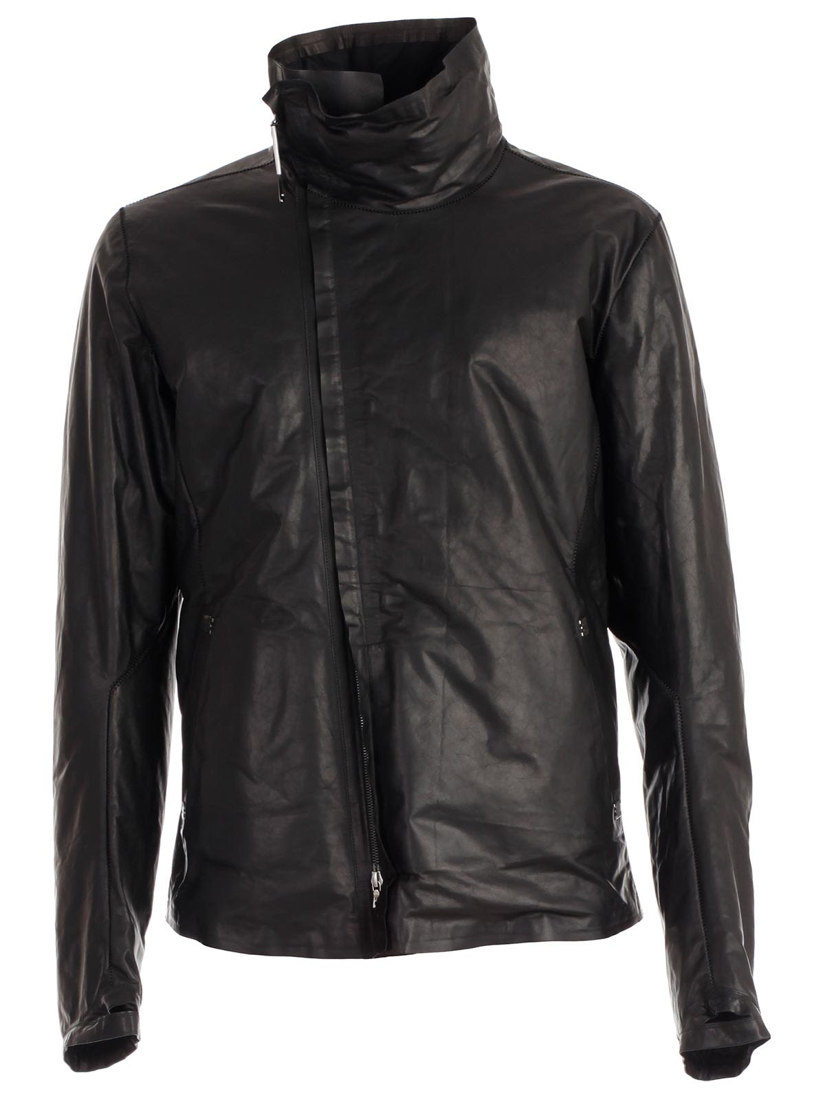 ISAAC SELLAM Zipped Leather Jacket in Hnoir