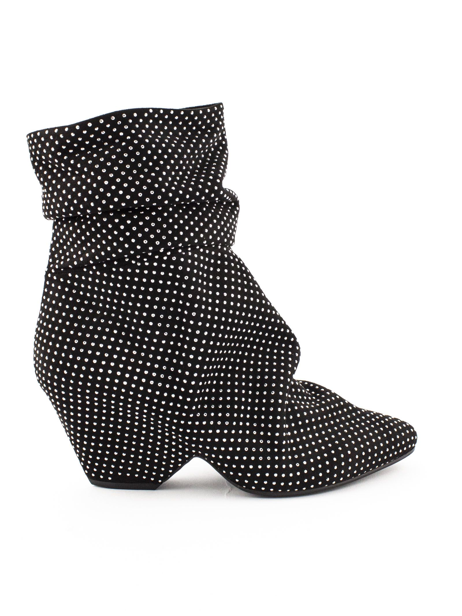Vic Matie BLACK STRETCH SUEDE LEATHER ANKLE BOOTS.