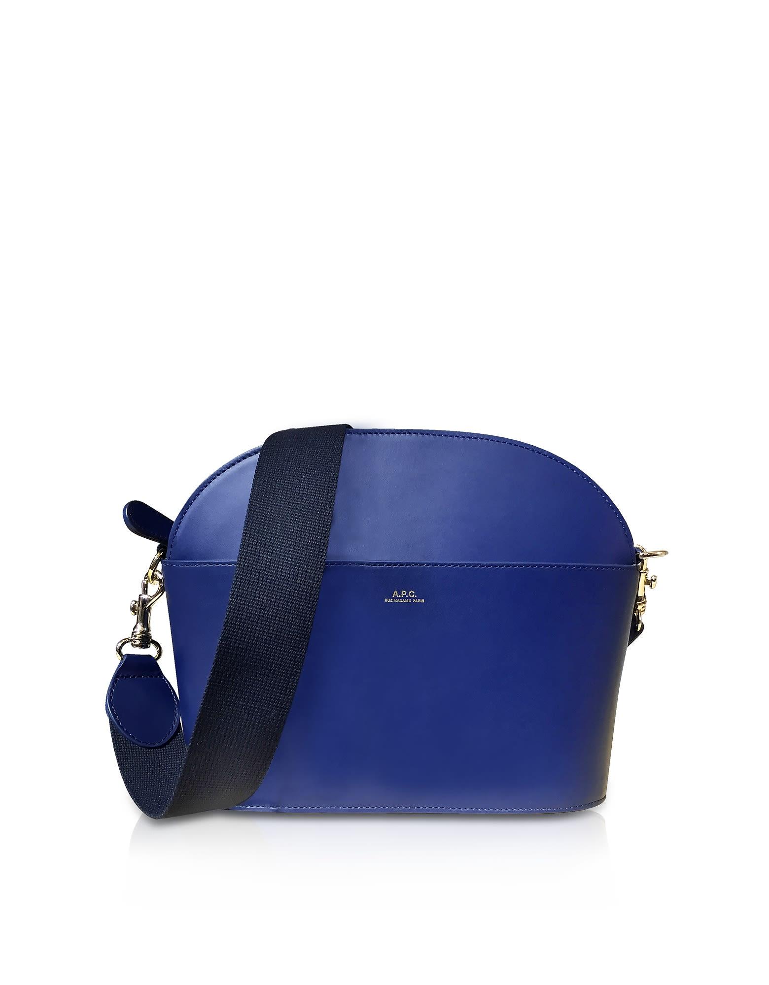 A.P.C. Marine Blue Leather Gabrielle Shoulder Bag