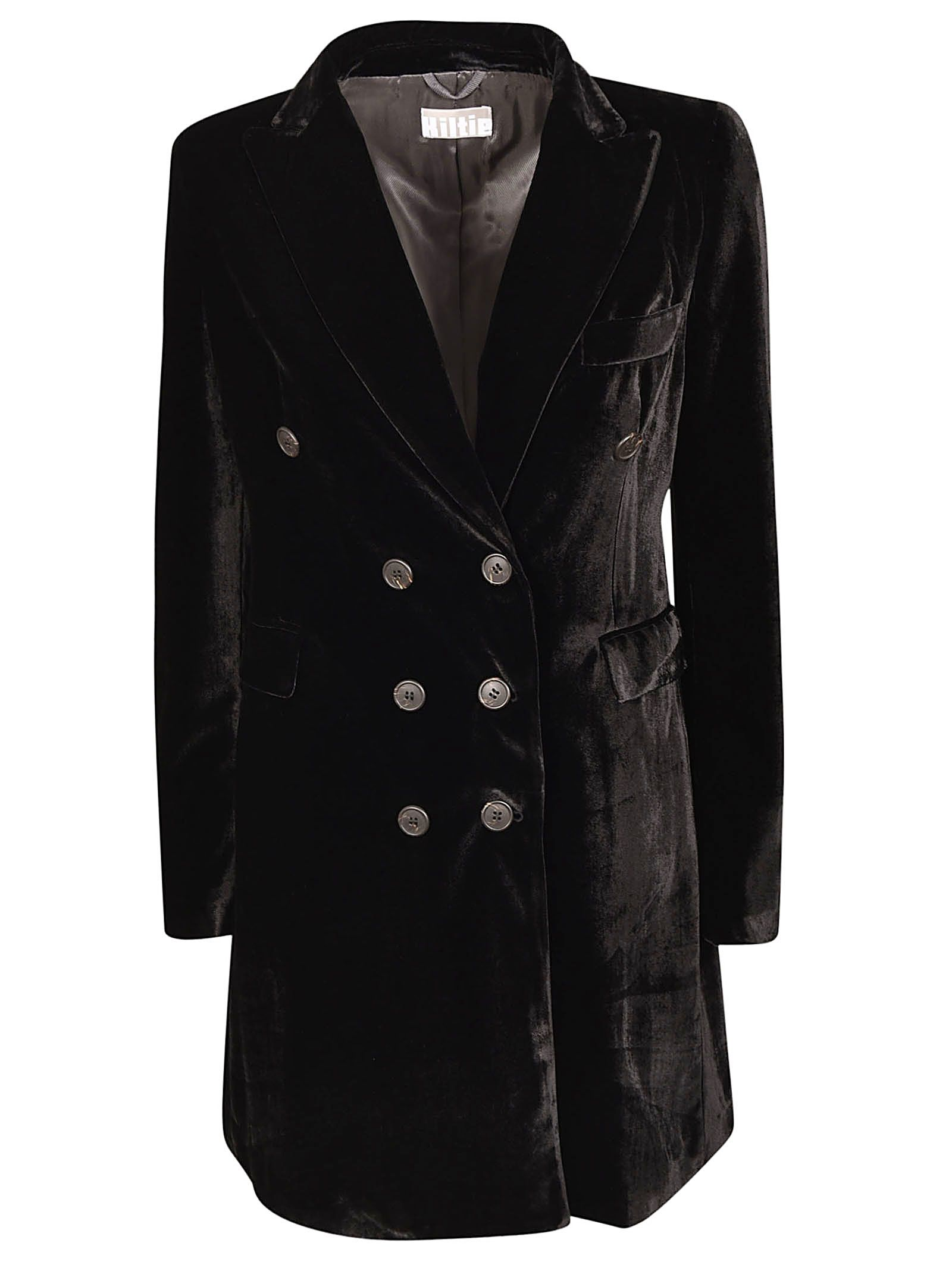 KILTIE & CO. Double Breasted Coat in Nero