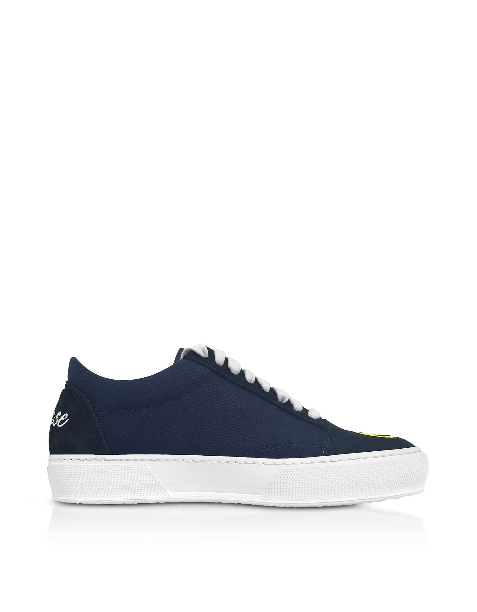 JOSHUA SANDERS Designer Shoes, Cotton and Leather Smile Embroidery Lace Up Sneakers