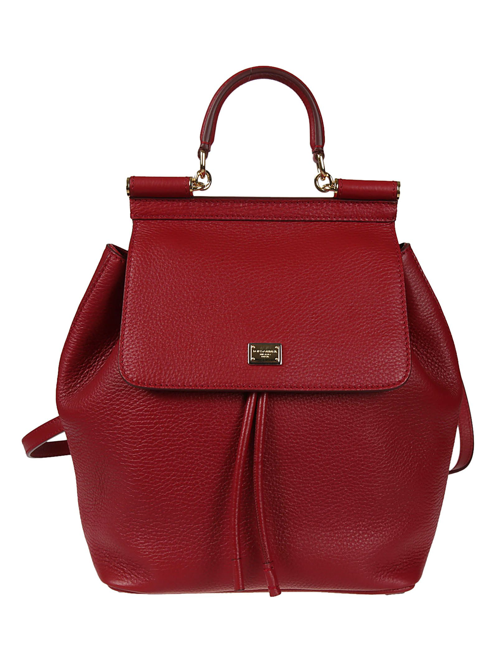 Dolce & Gabbana Pebbled Sicily Backpack in Red