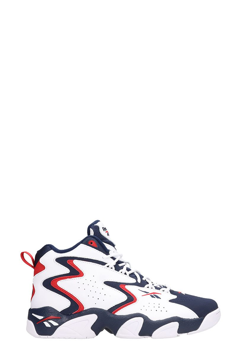 Reebok MOBLUS WHITE/BLUE RED LEATHER AND SUEDE SNEAKERS