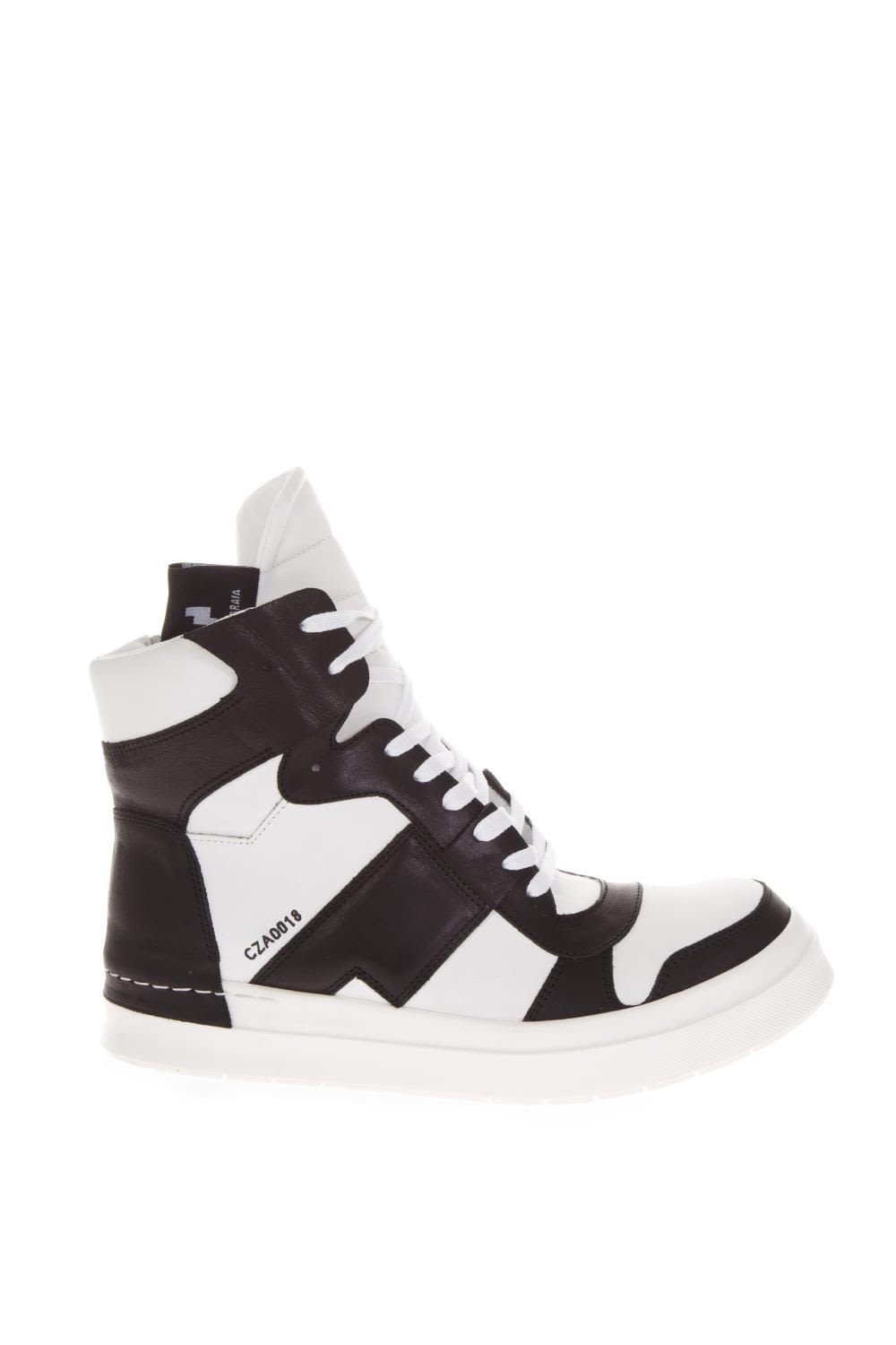 CINZIA ARAIA HIGH-TOP SNEAKERS IN BLACK AND WHITE LEATHER