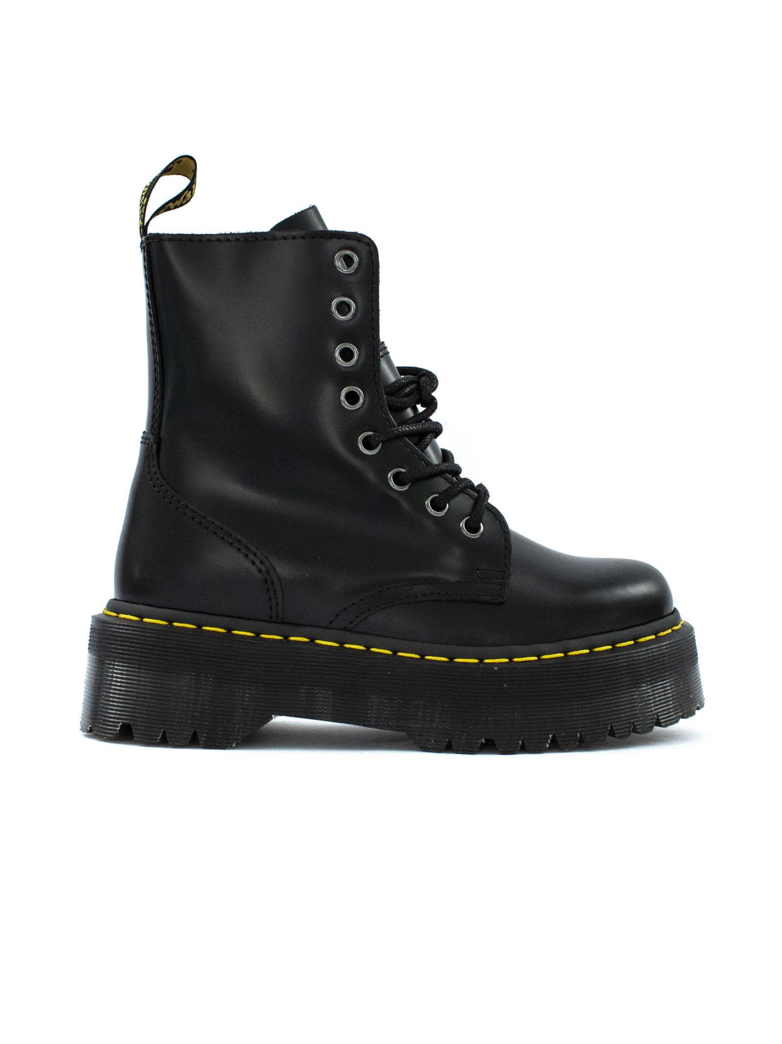 dr. martens -  Jadon Boots In Black Polished Smooth Leather.