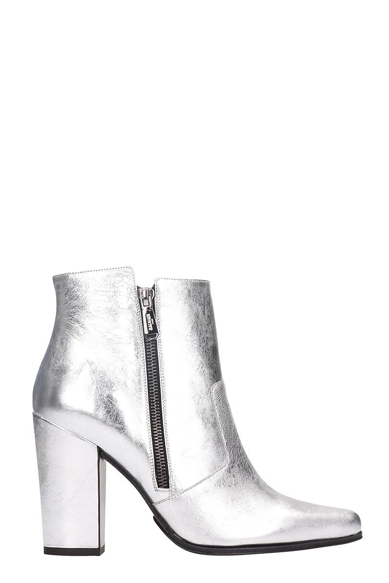 Balmain Anthea Silver Calf Leather Ankle Boots