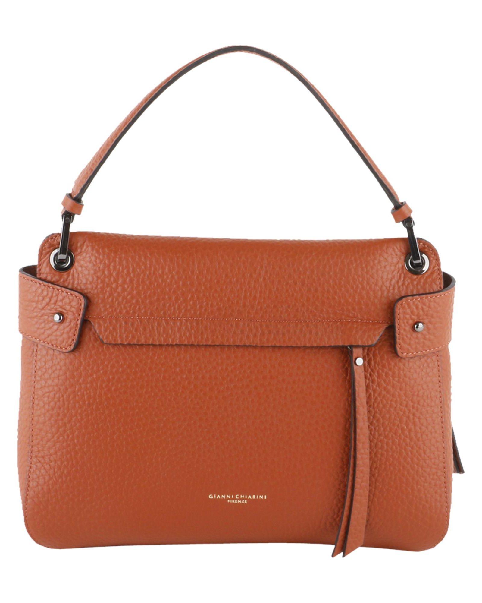 GIANNI CHIARINI Jasper Grained Leather Top Handle in Brown