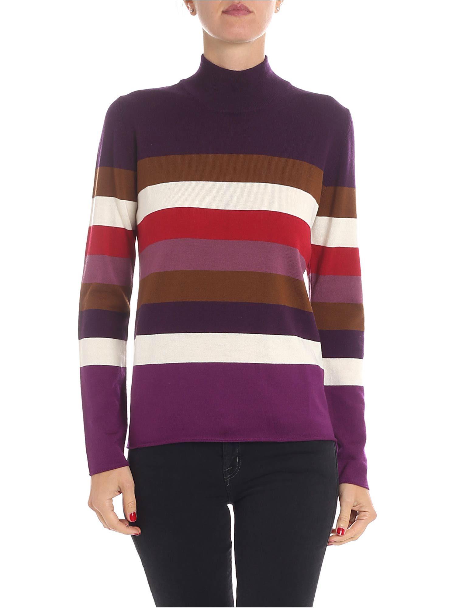 ALTEA Stripe Knit Pullover in Violet