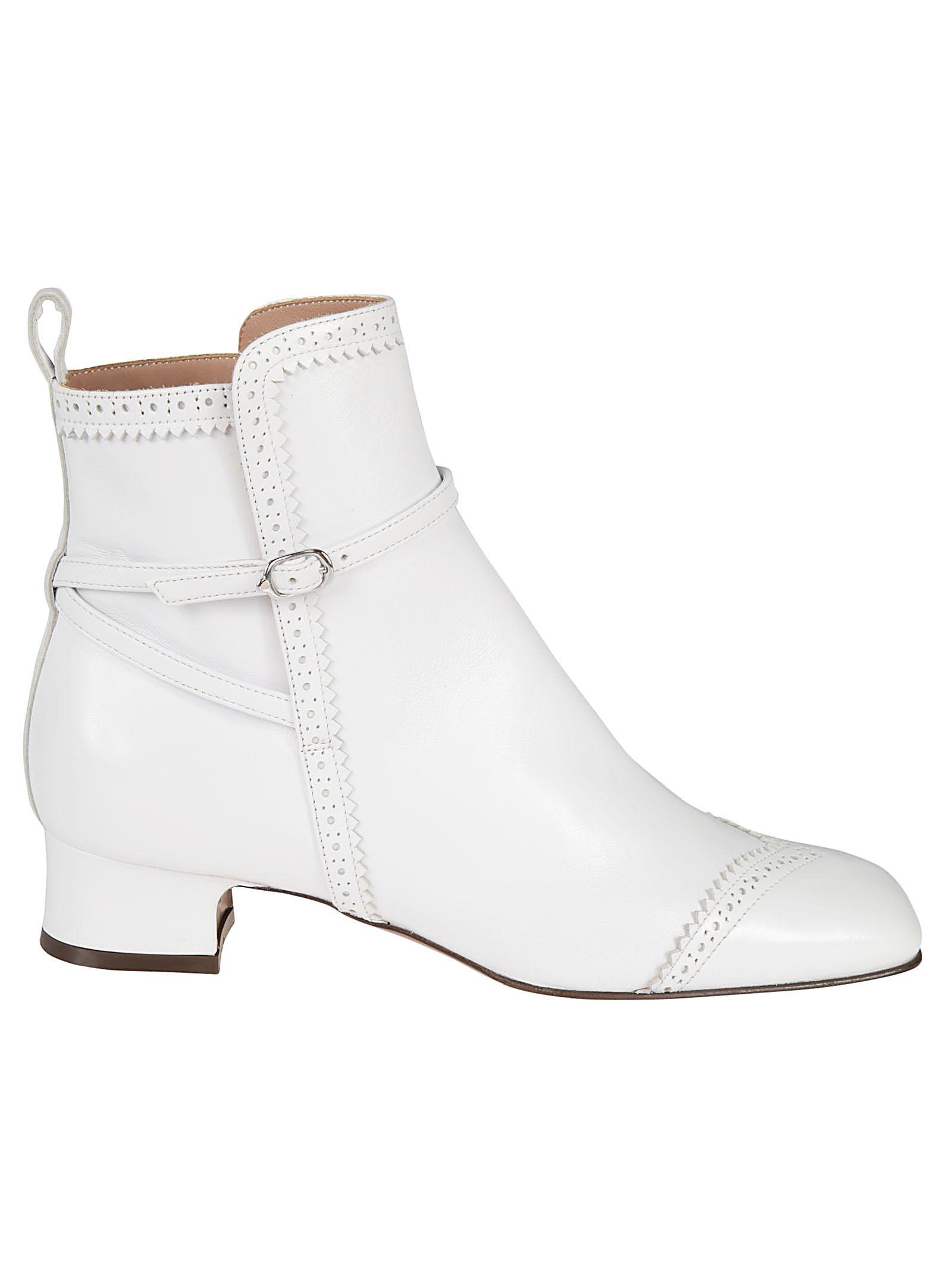 L'AUTRE CHOSE L'Autre Chose Side Buckle Ankle Boots - White